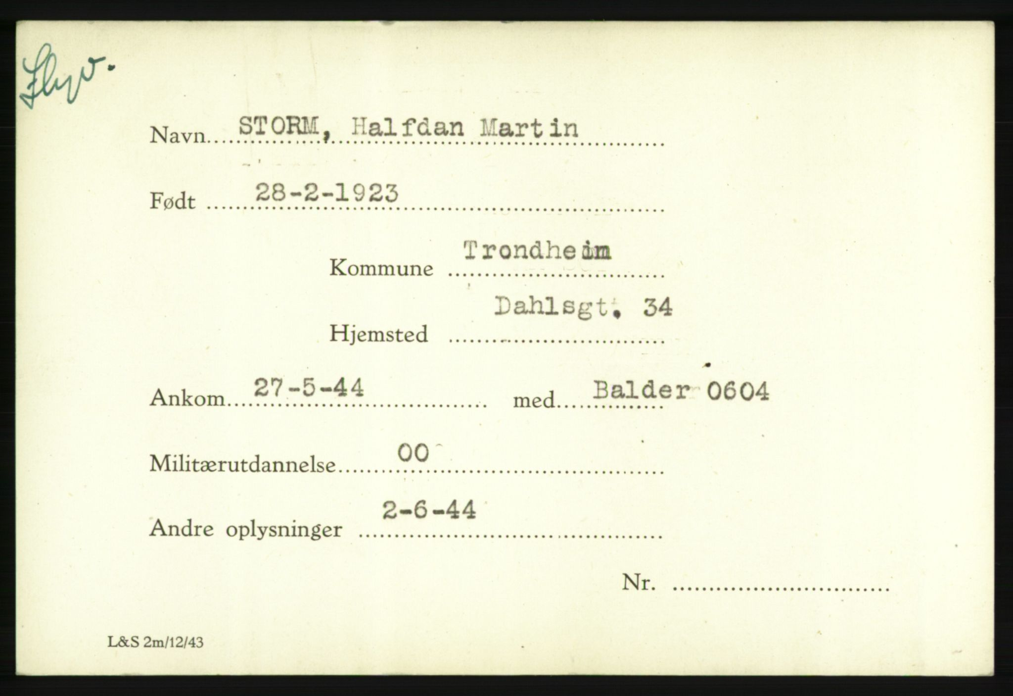RA, Forsvarets Overkommando. 2. kontor. Arkiv 8.1. Mottakersentralen FDE og FO.II, P/Pa/L0019: Storm - Thoreby , 1940-1945