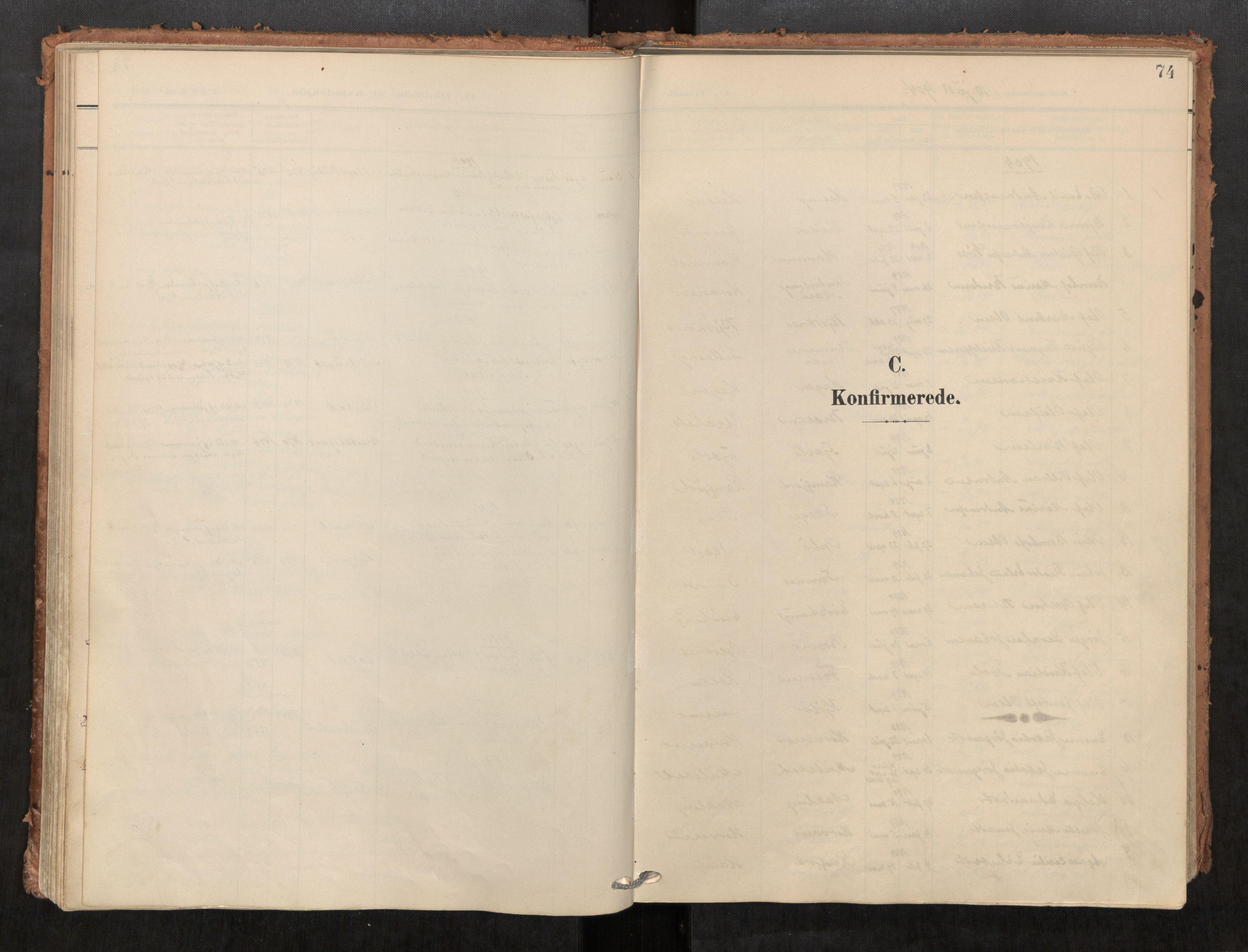 SAT, Kolvereid sokneprestkontor, H/Ha/Haa/L0001: Parish register (official) no. 1, 1903-1922, p. 74