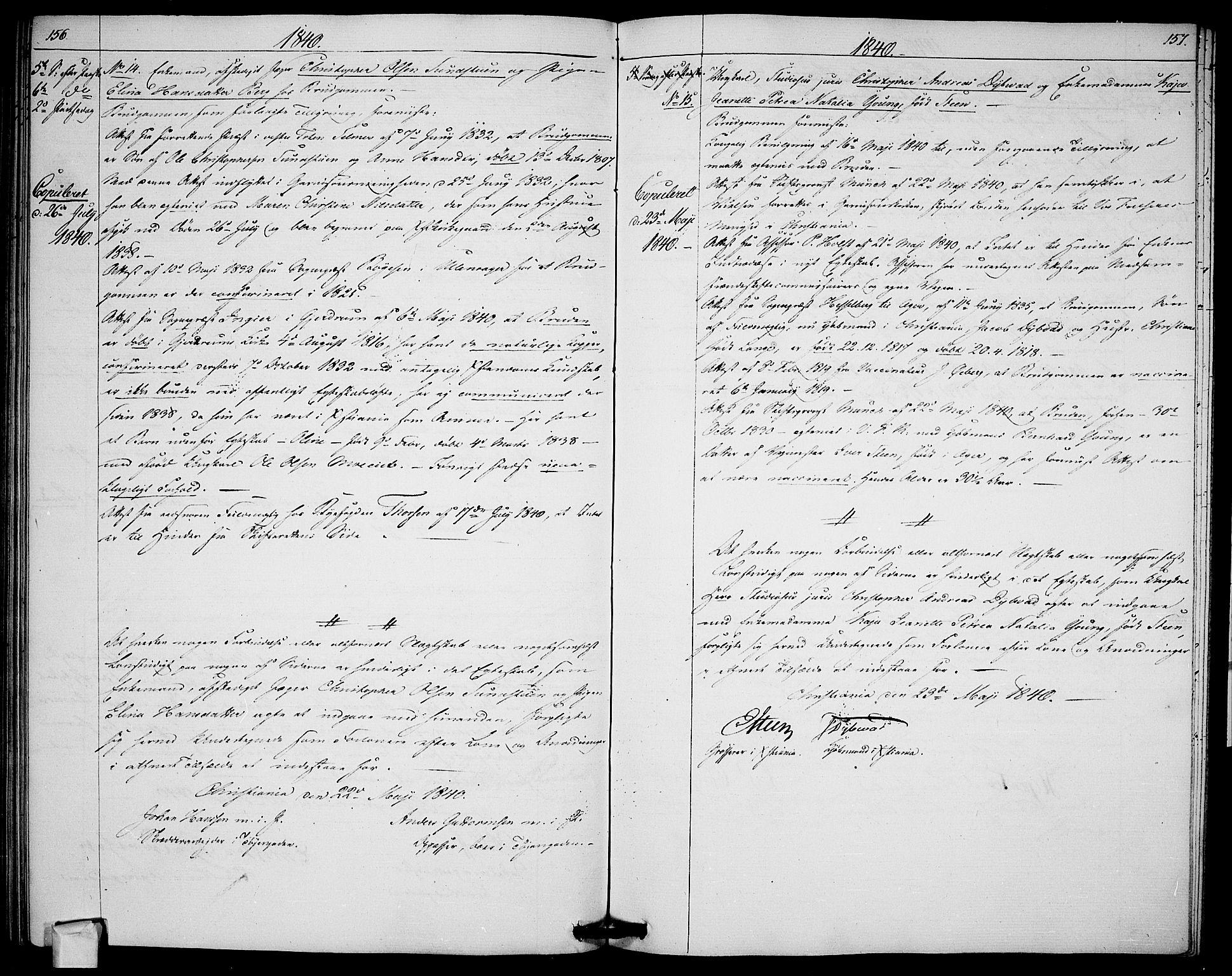 SAO, Garnisonsmenigheten Kirkebøker, H/Ha/L0003: Banns register no. I 3, 1835-1840, p. 156-157