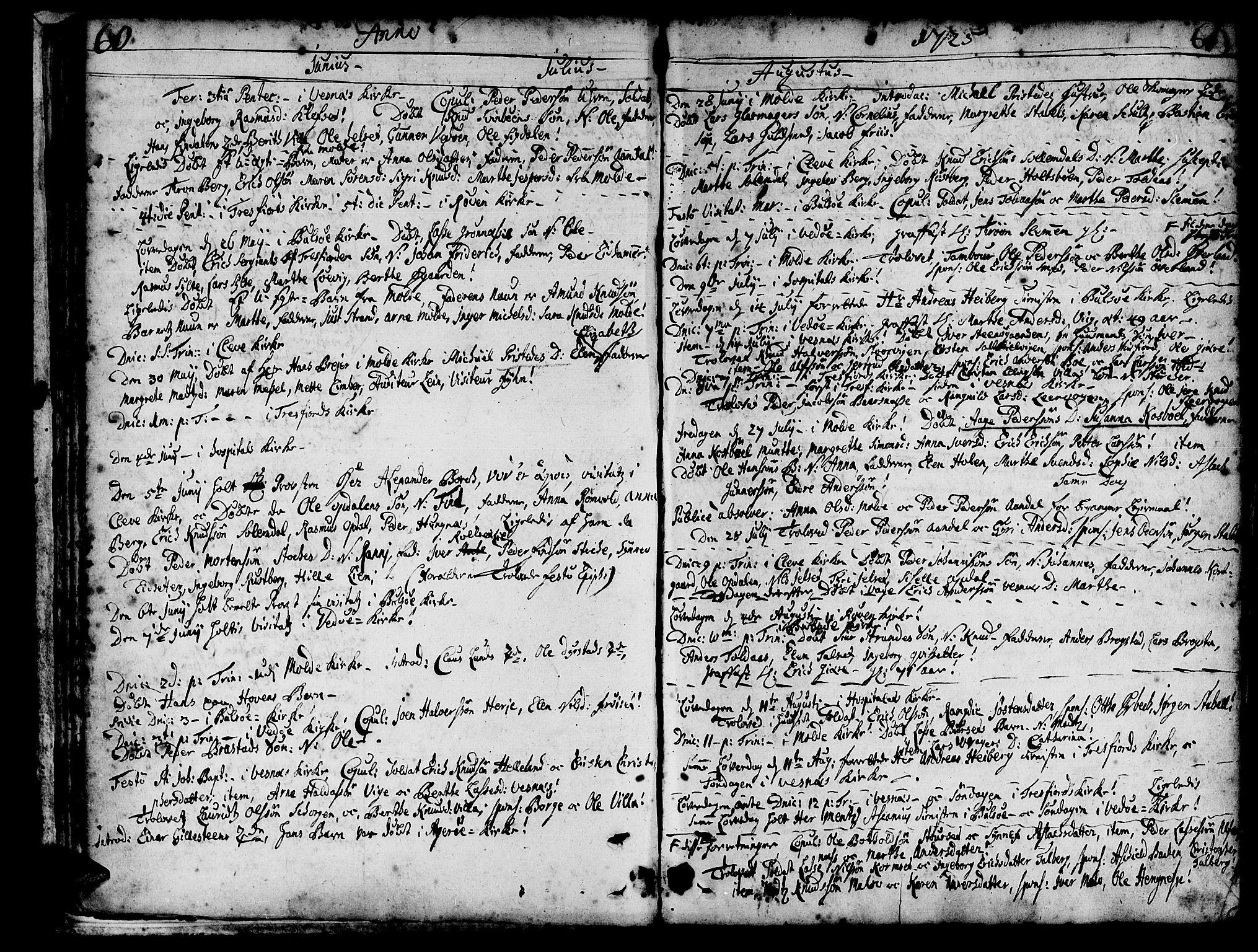 SAT, Ministerialprotokoller, klokkerbøker og fødselsregistre - Møre og Romsdal, 547/L0599: Parish register (official) no. 547A01, 1721-1764, p. 62-63