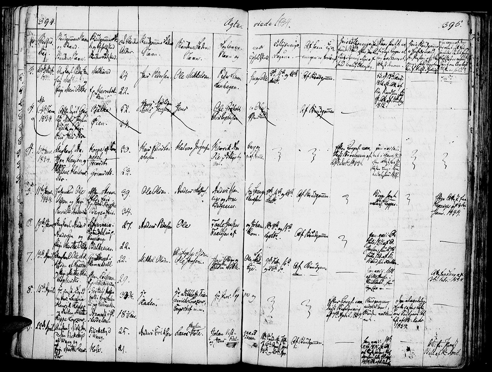 SAH, Løten prestekontor, K/Ka/L0006: Parish register (official) no. 6, 1832-1849, p. 394-395