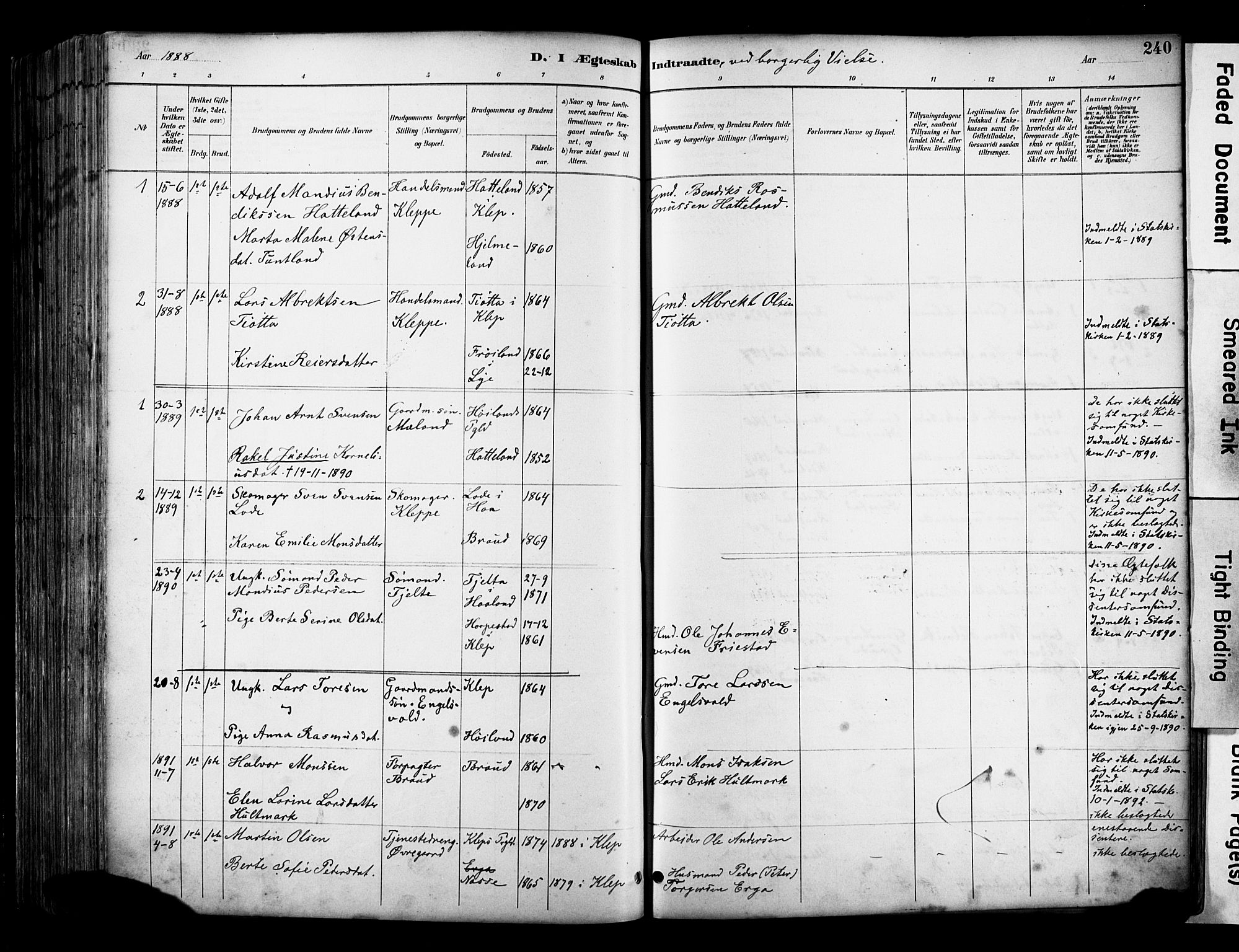 SAST, Klepp sokneprestkontor, 30BA/L0009: Parish register (official) no. A 7, 1886-1915, p. 240