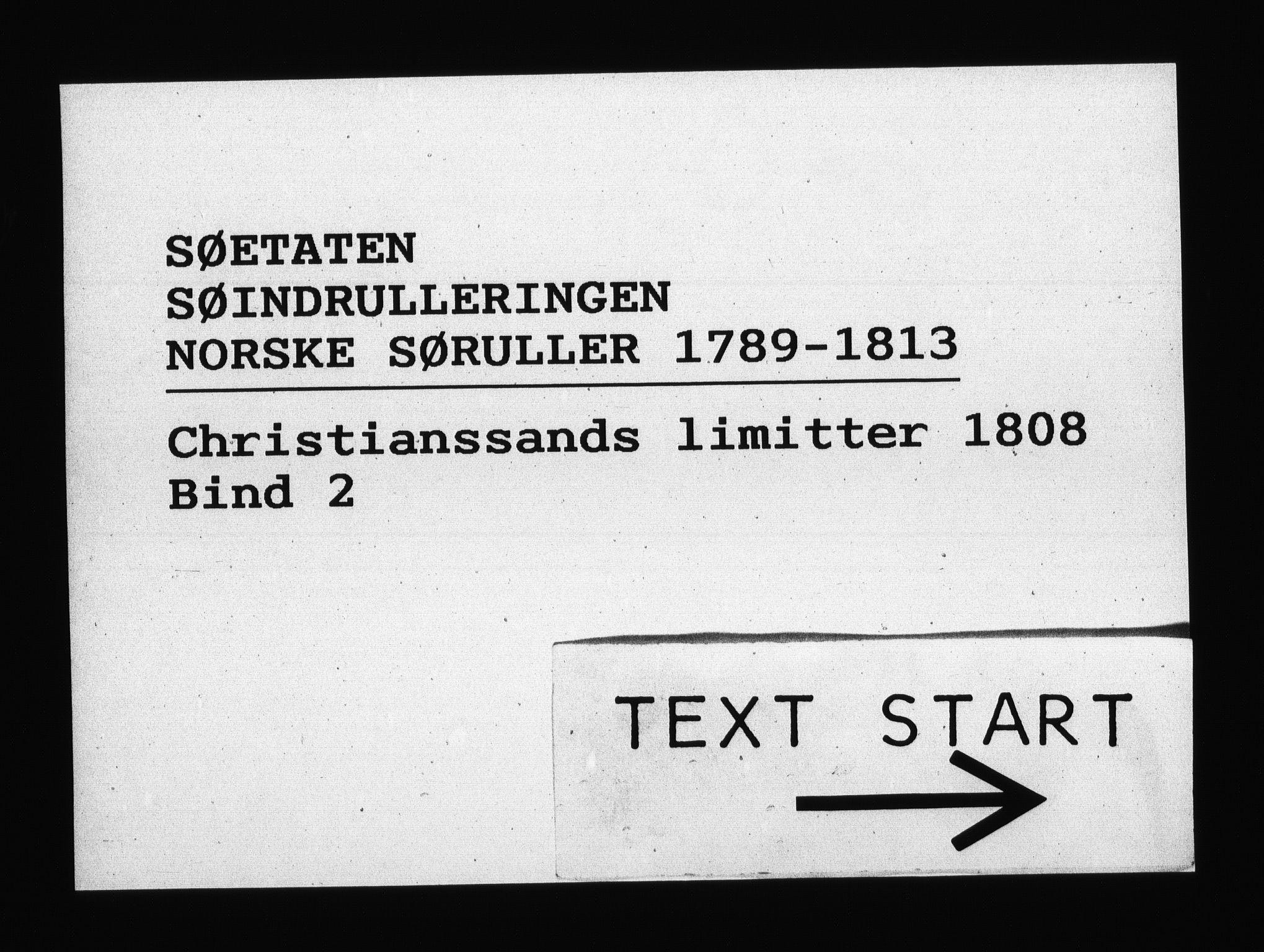 RA, Sjøetaten, F/L0102: Kristiansand limitter, bind 2, 1808