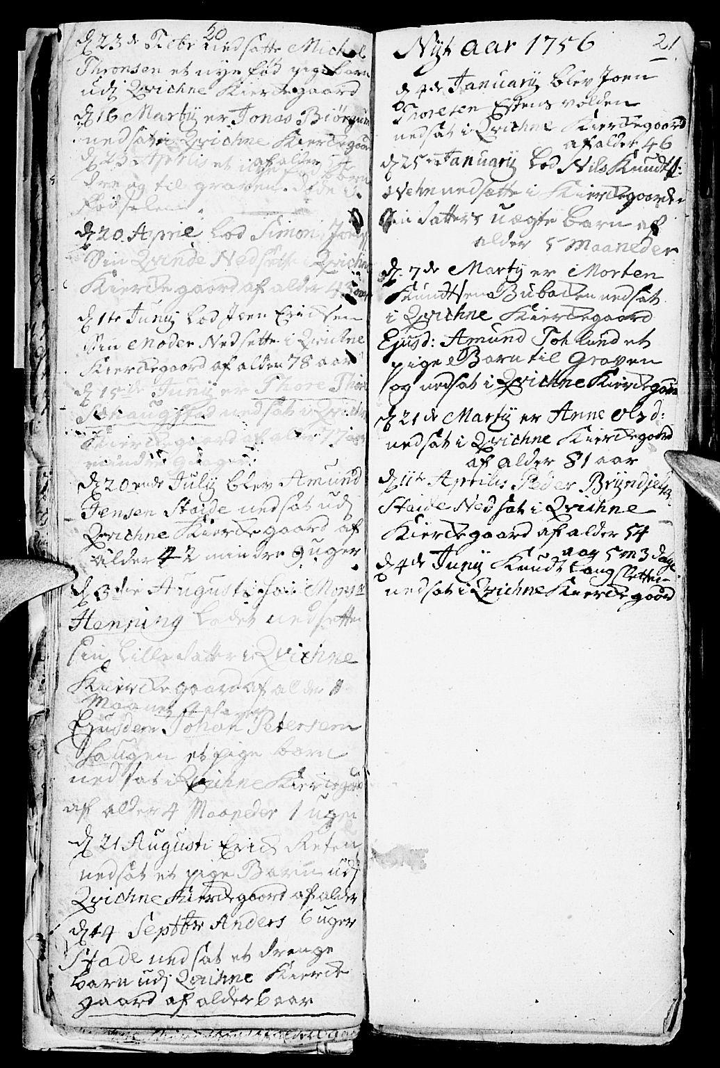 SAH, Kvikne prestekontor, Parish register (official) no. 1, 1740-1756, p. 20-21