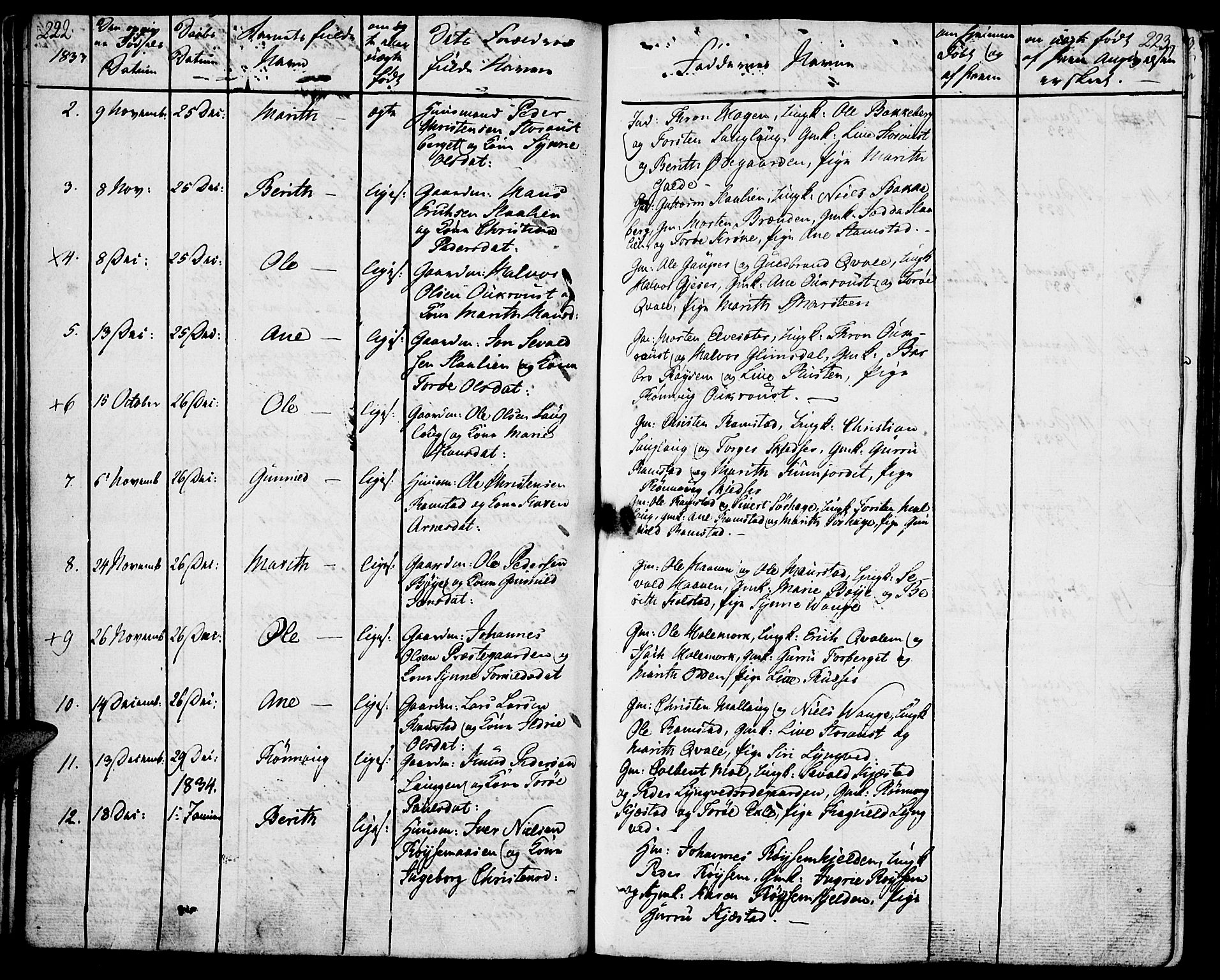 SAH, Lom prestekontor, K/L0005: Parish register (official) no. 5, 1825-1837, p. 222-223