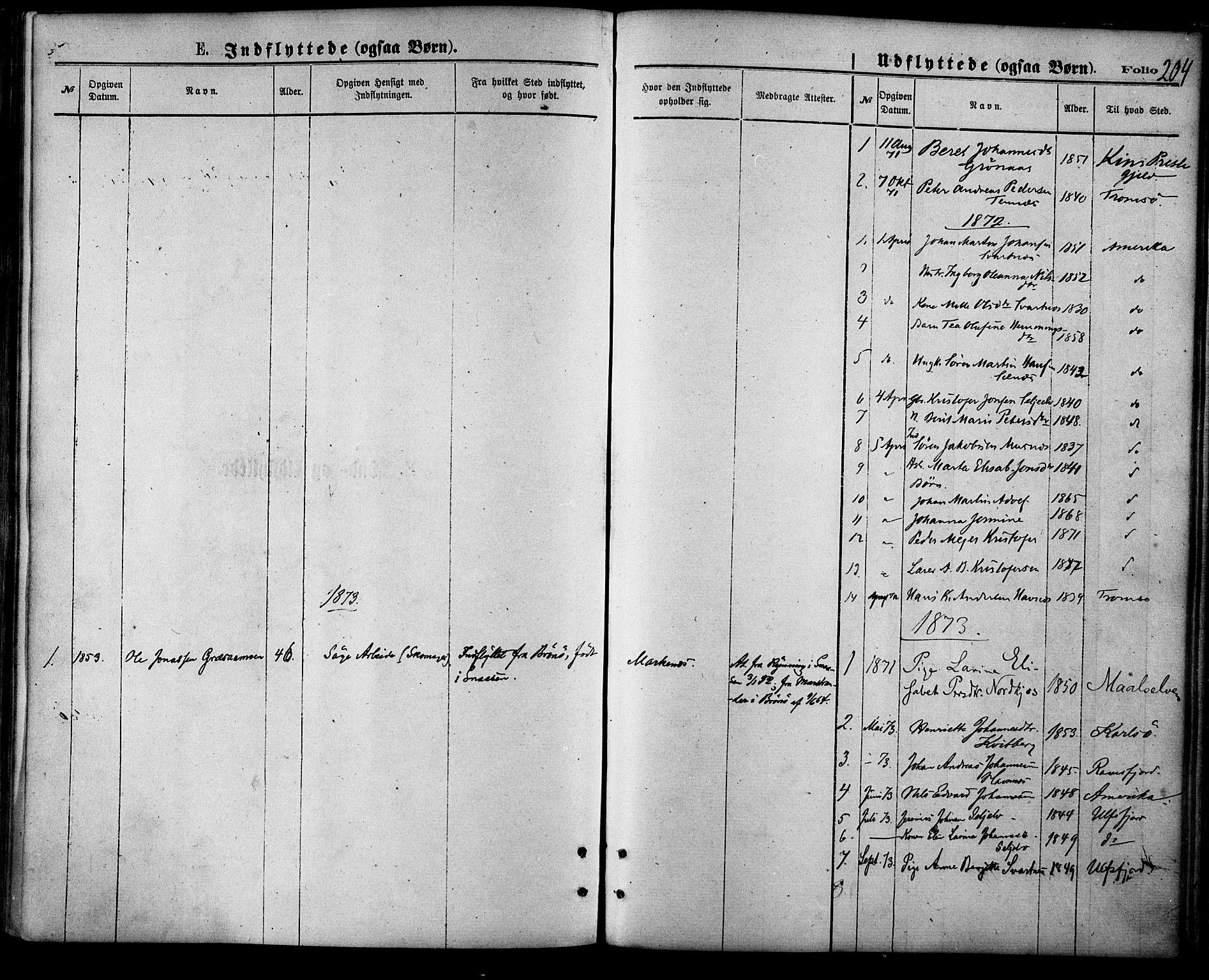 SATØ, Balsfjord sokneprestembete, Parish register (official) no. 4, 1871-1883, p. 204