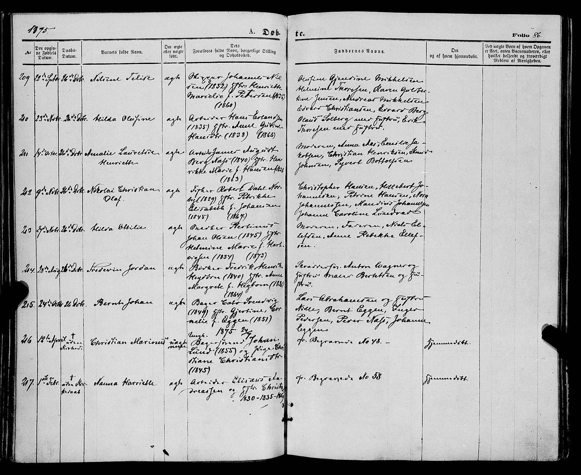 SATØ, Tromsø sokneprestkontor/stiftsprosti/domprosti, G/Ga/L0013kirke: Parish register (official) no. 13, 1872-1877, p. 86