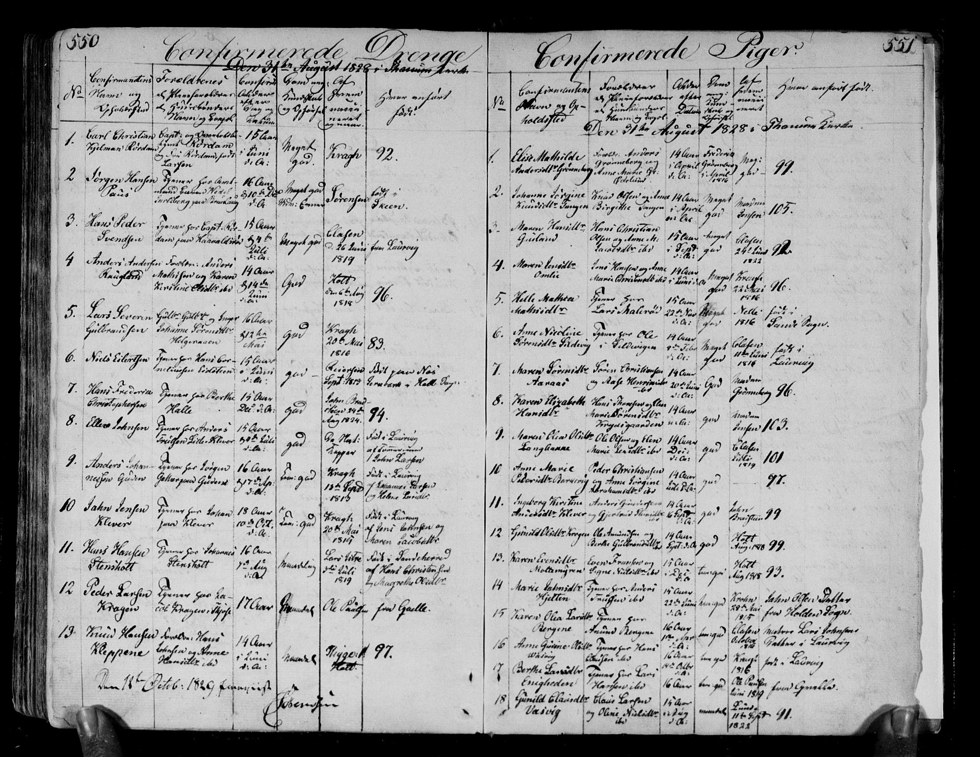 SAKO, Brunlanes kirkebøker, F/Fa/L0002: Parish register (official) no. I 2, 1802-1834, p. 550-551