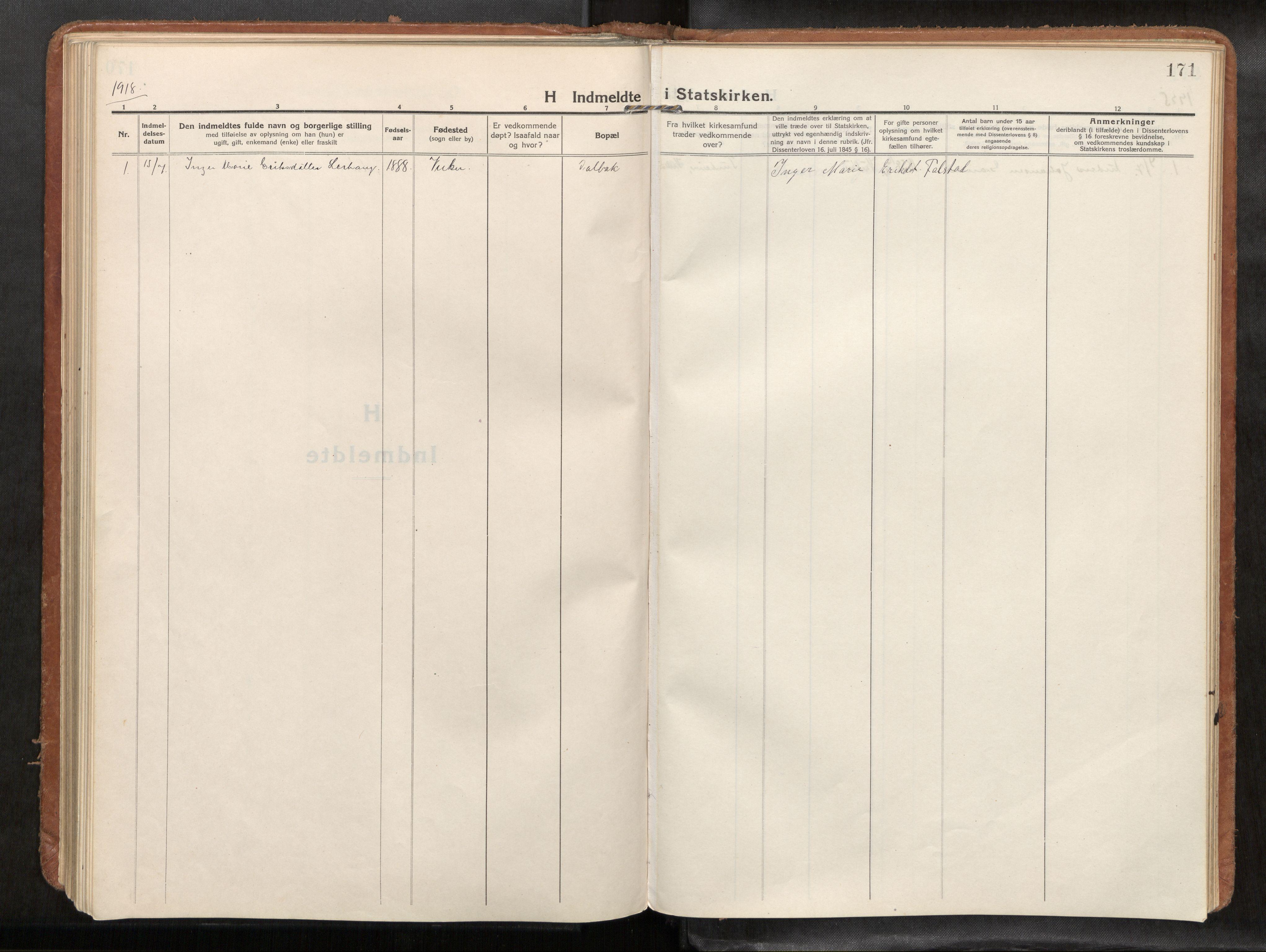 SAT, Verdal sokneprestkontor*, Parish register (official) no. 1, 1916-1928, p. 171