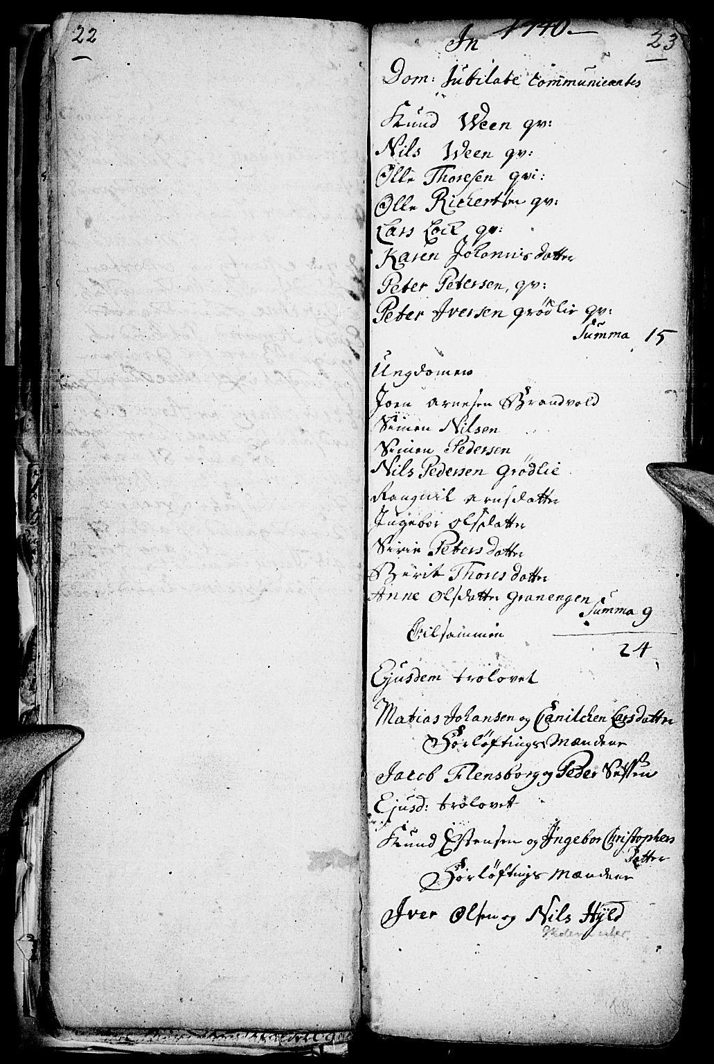 SAH, Kvikne prestekontor, Parish register (official) no. 1, 1740-1756, p. 22-23