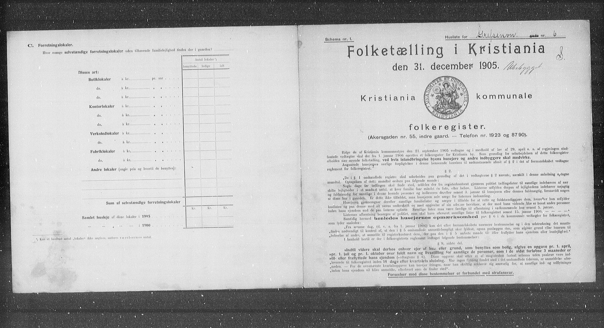 OBA, Municipal Census 1905 for Kristiania, 1905, p. 15361