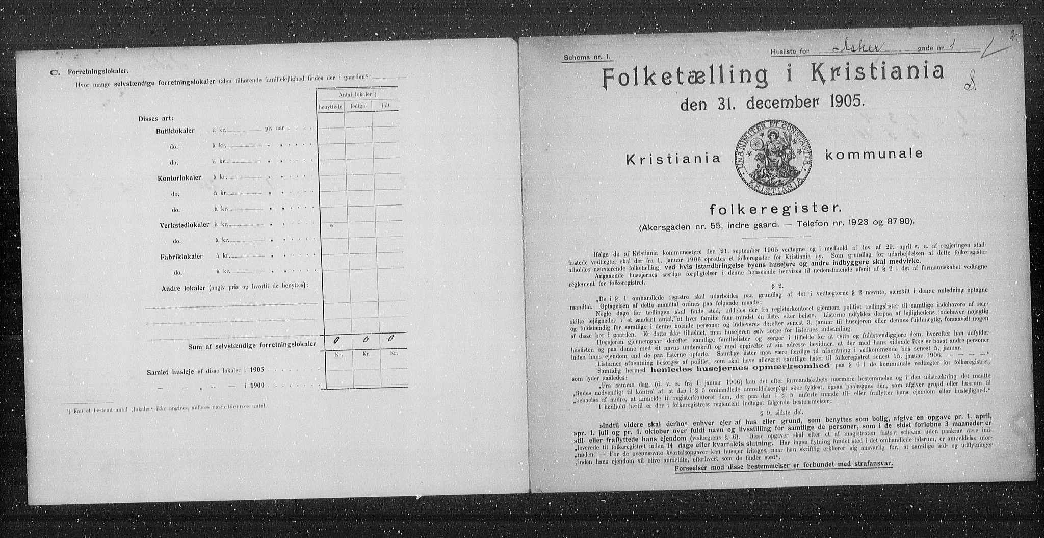 OBA, Municipal Census 1905 for Kristiania, 1905, p. 1284