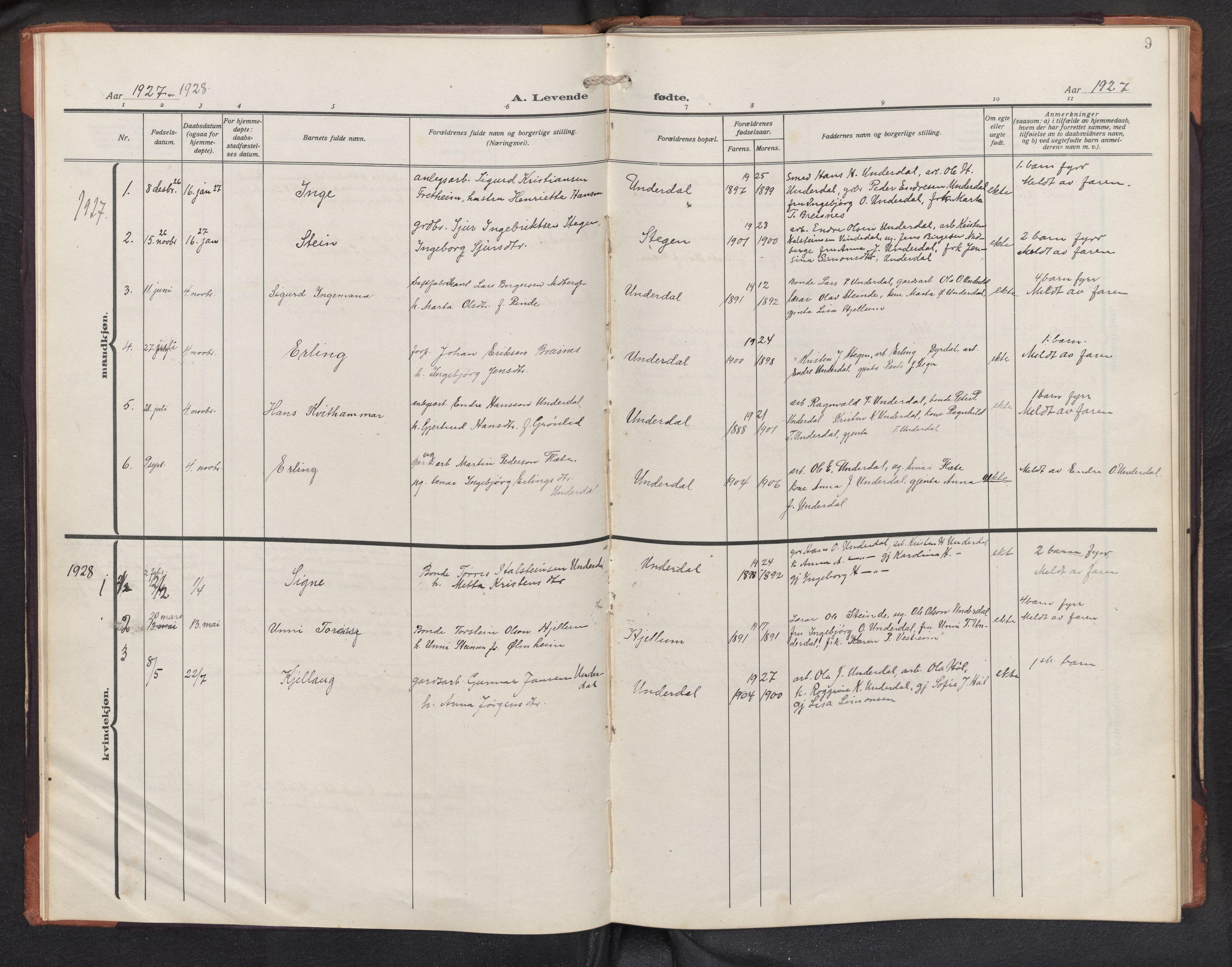 SAB, Aurland sokneprestembete, H/Hb/Hbd/L0003: Parish register (copy) no. D 3, 1920-1968, p. 8b-9a