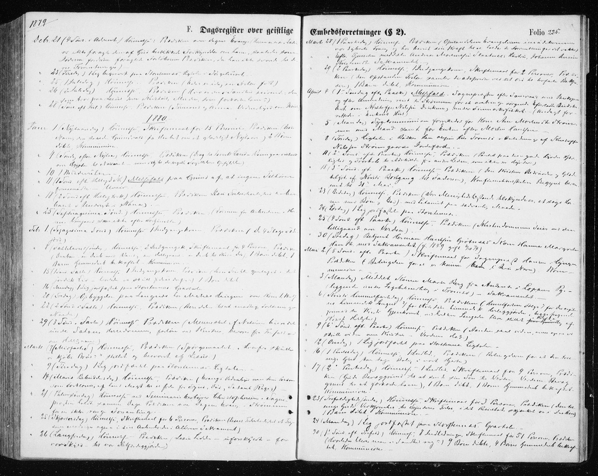 SATØ, Tromsøysund sokneprestkontor, G/Ga/L0003kirke: Parish register (official) no. 3, 1875-1880, p. 235