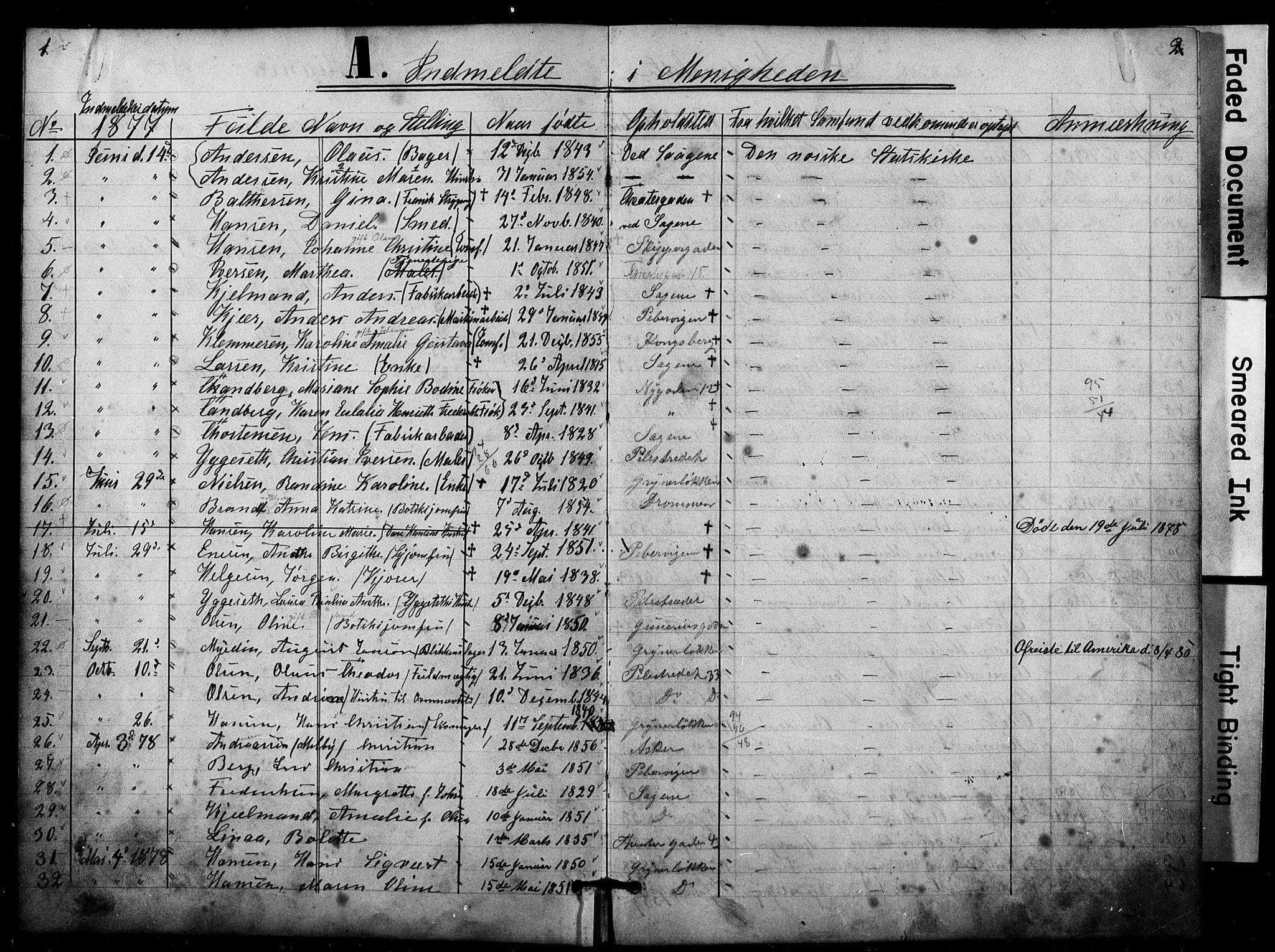 SAO, Den katolsk apostoliske menighet i Oslo , F/Fa/L0001: Dissenter register no. 1, 1877-1891, p. 1-2