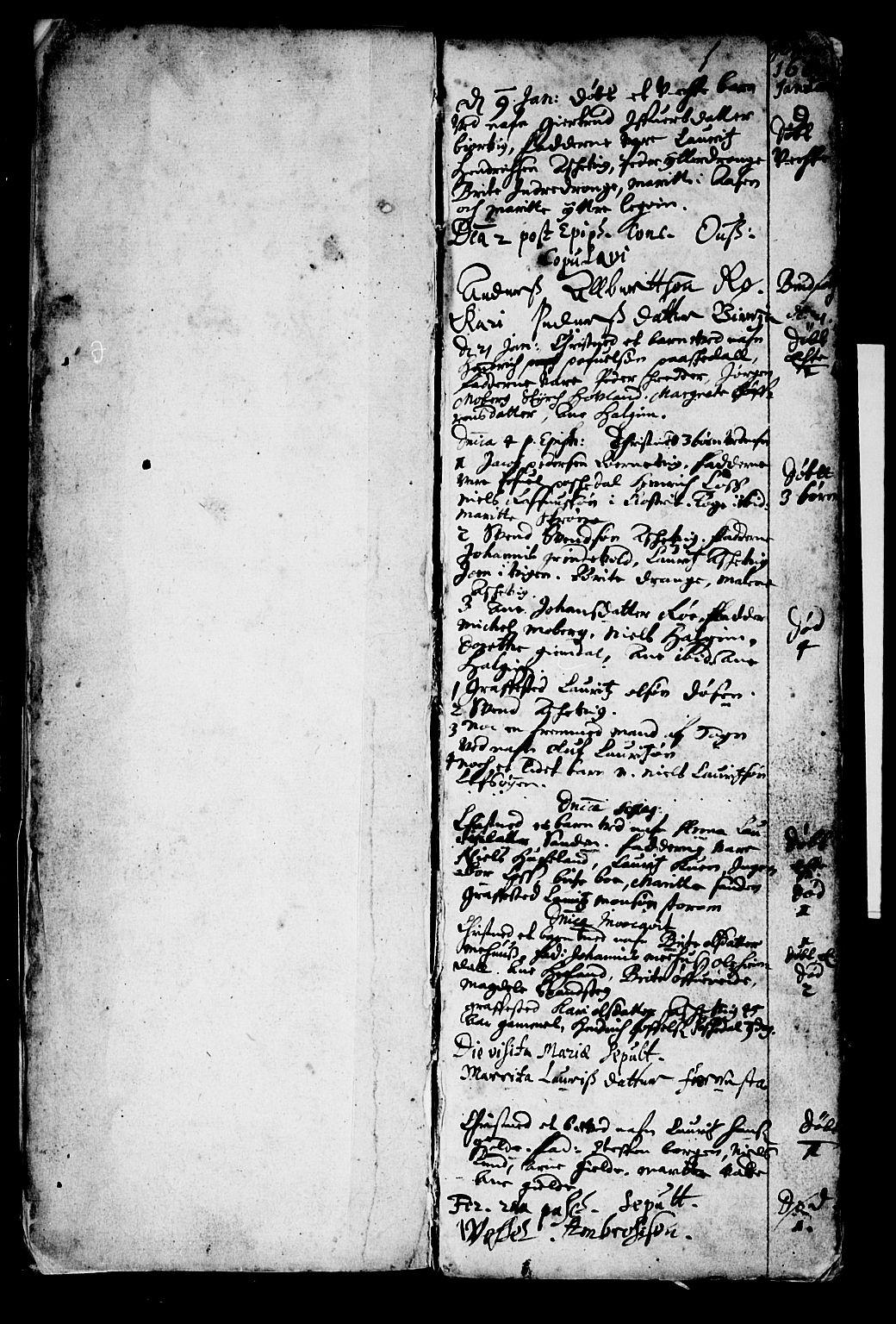 SAB, Os sokneprestembete*, Parish register (official) no. A 1, 1669-1722, p. 1
