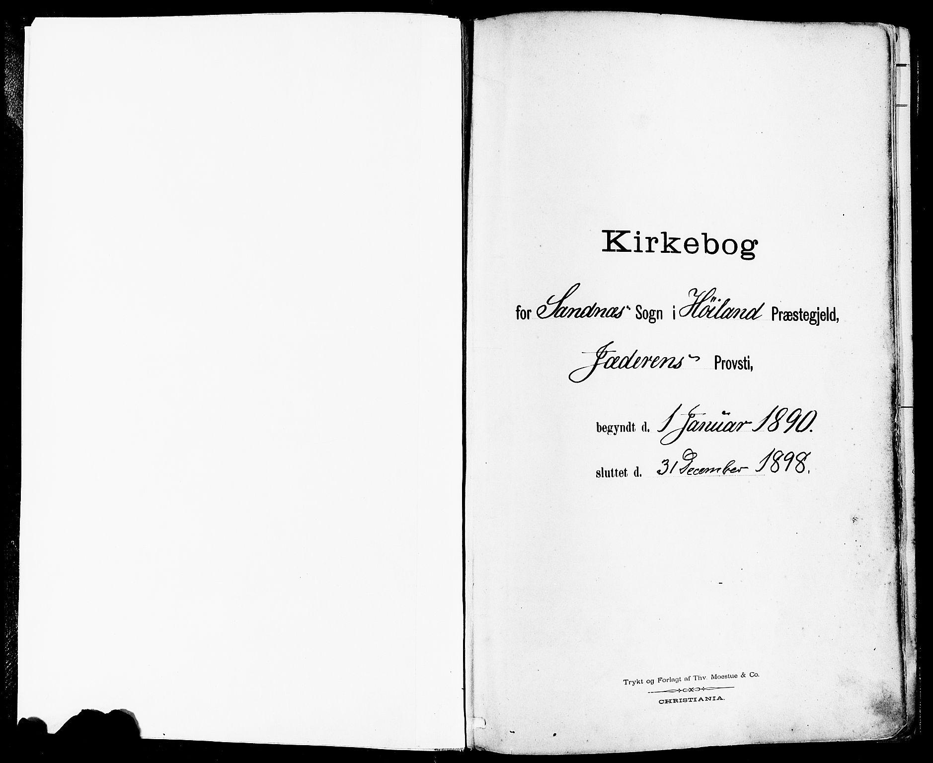 SAST, Høyland sokneprestkontor, 30BA/L0014: Parish register (official) no. A 12, 1890-1898