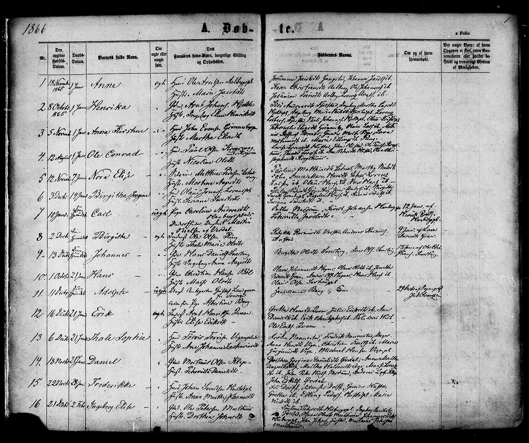 SAT, Ministerialprotokoller, klokkerbøker og fødselsregistre - Nord-Trøndelag, 730/L0284: Parish register (official) no. 730A09, 1866-1878, p. 1