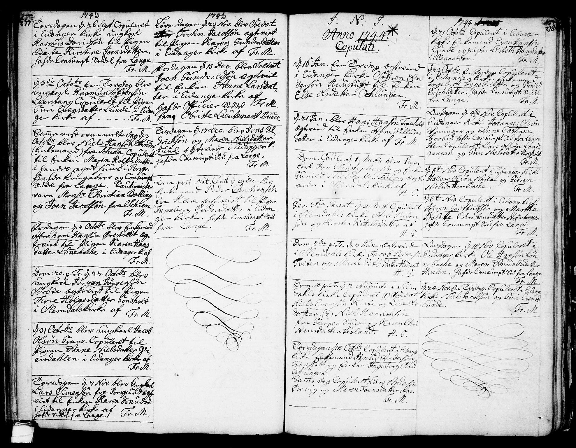 SAKO, Eidanger kirkebøker, F/Fa/L0004: Parish register (official) no. 4, 1733-1759, p. 277-278