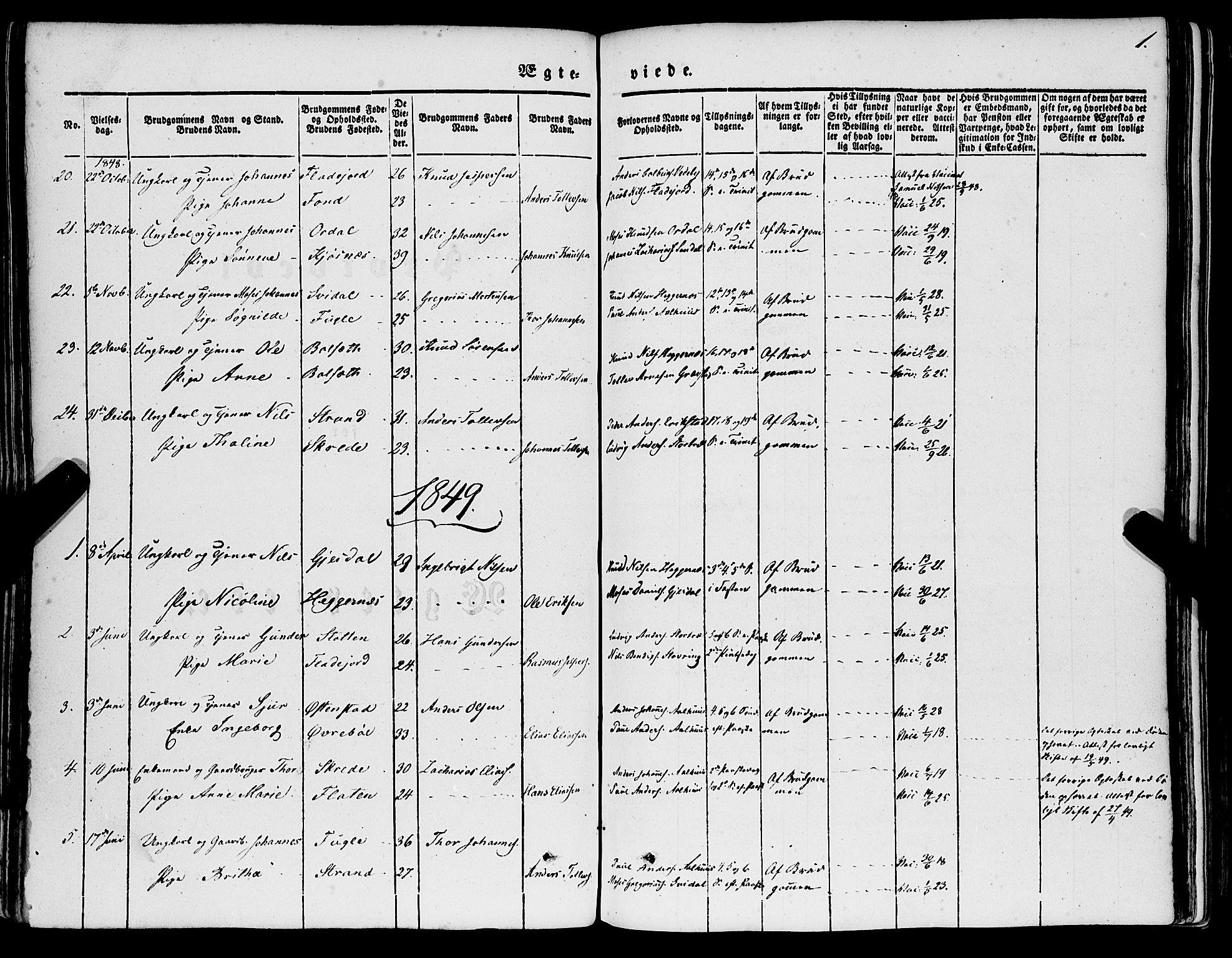 SAB, Jølster sokneprestembete, H/Haa/Haaa/L0010: Parish register (official) no. A 10, 1847-1865, p. 1
