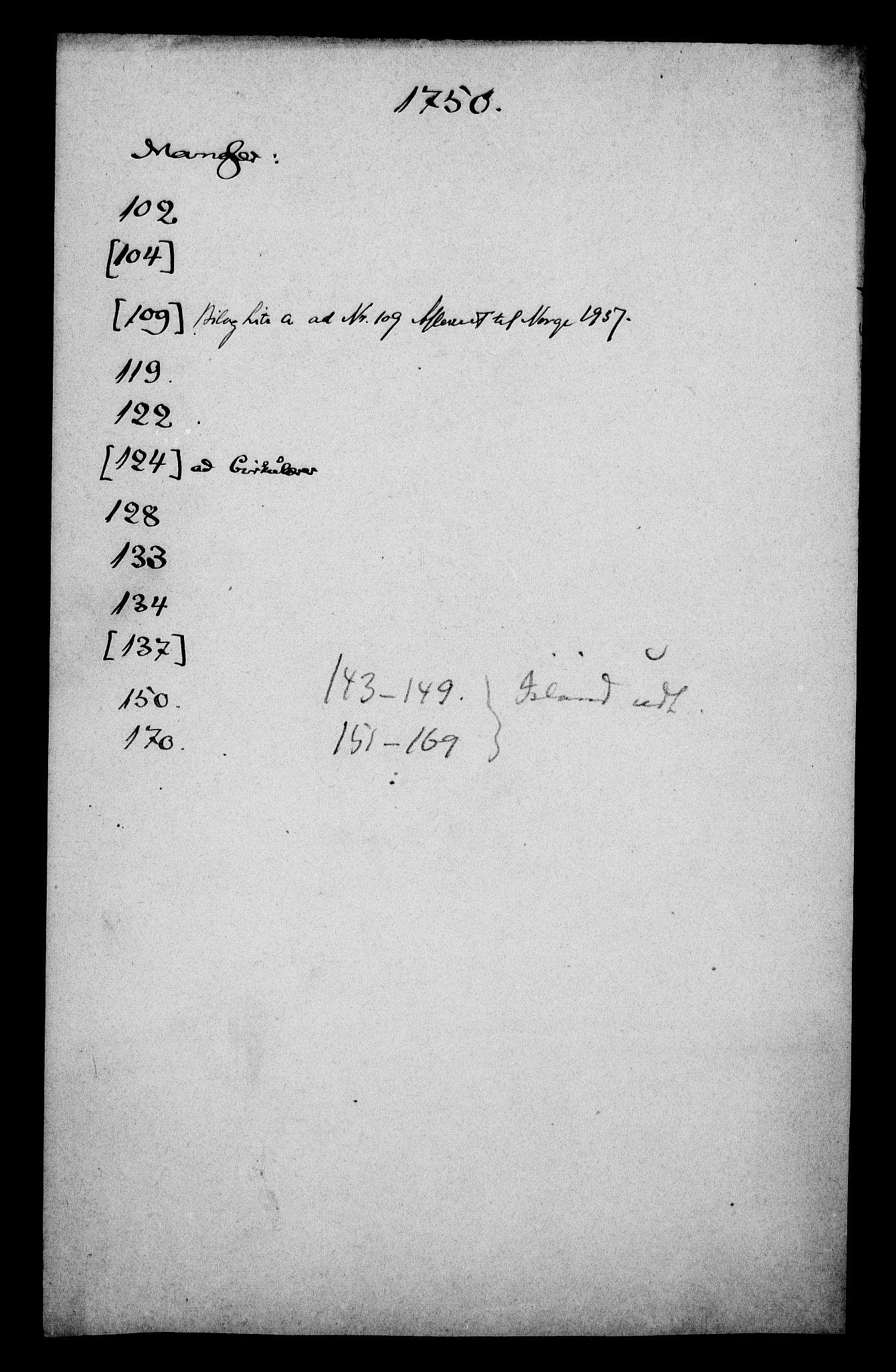 DRA, Generalkirkeinspektionskollegiet, F4-06/F4-06-21: Protokollerede indkomne sager, 1750