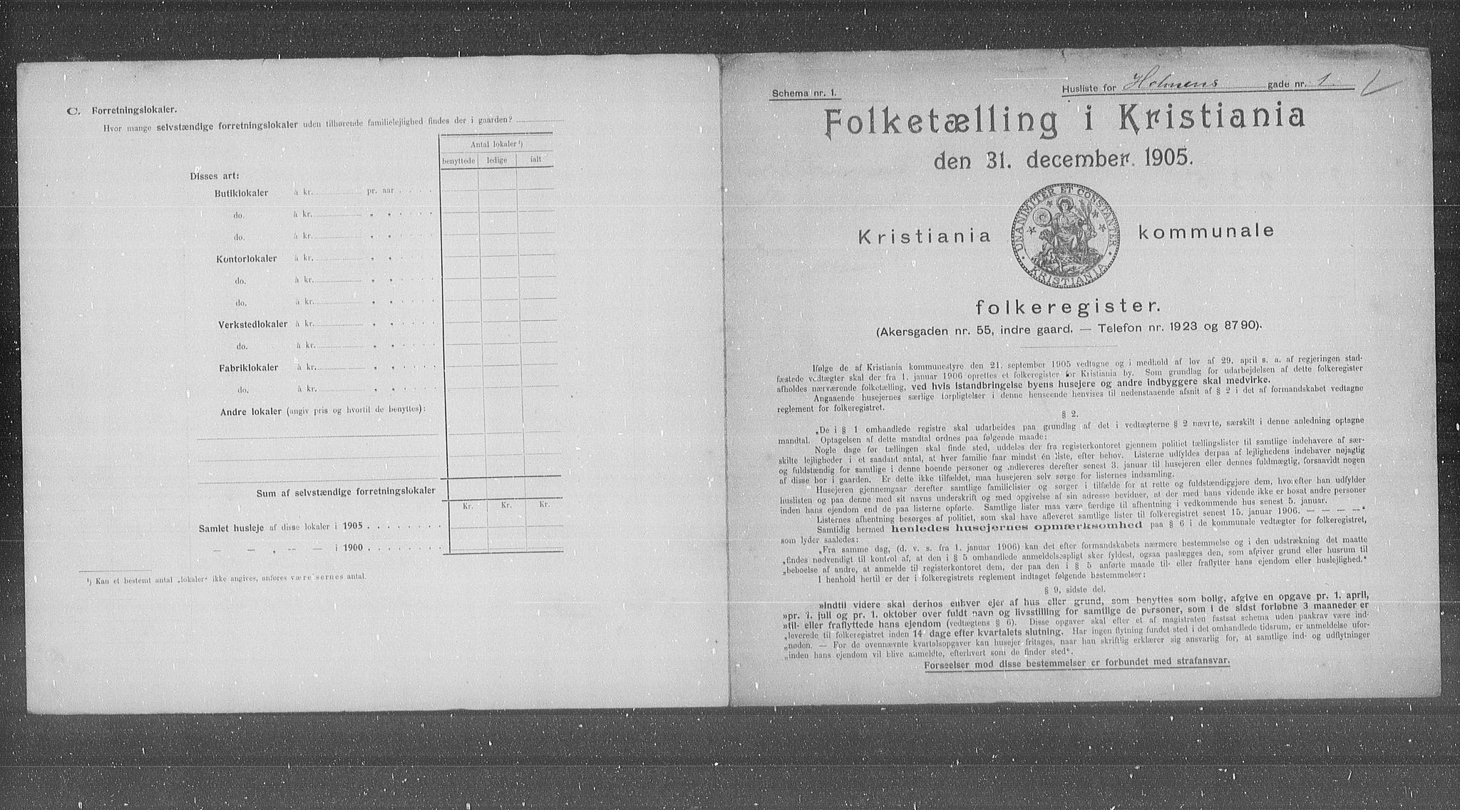 OBA, Municipal Census 1905 for Kristiania, 1905, p. 21220