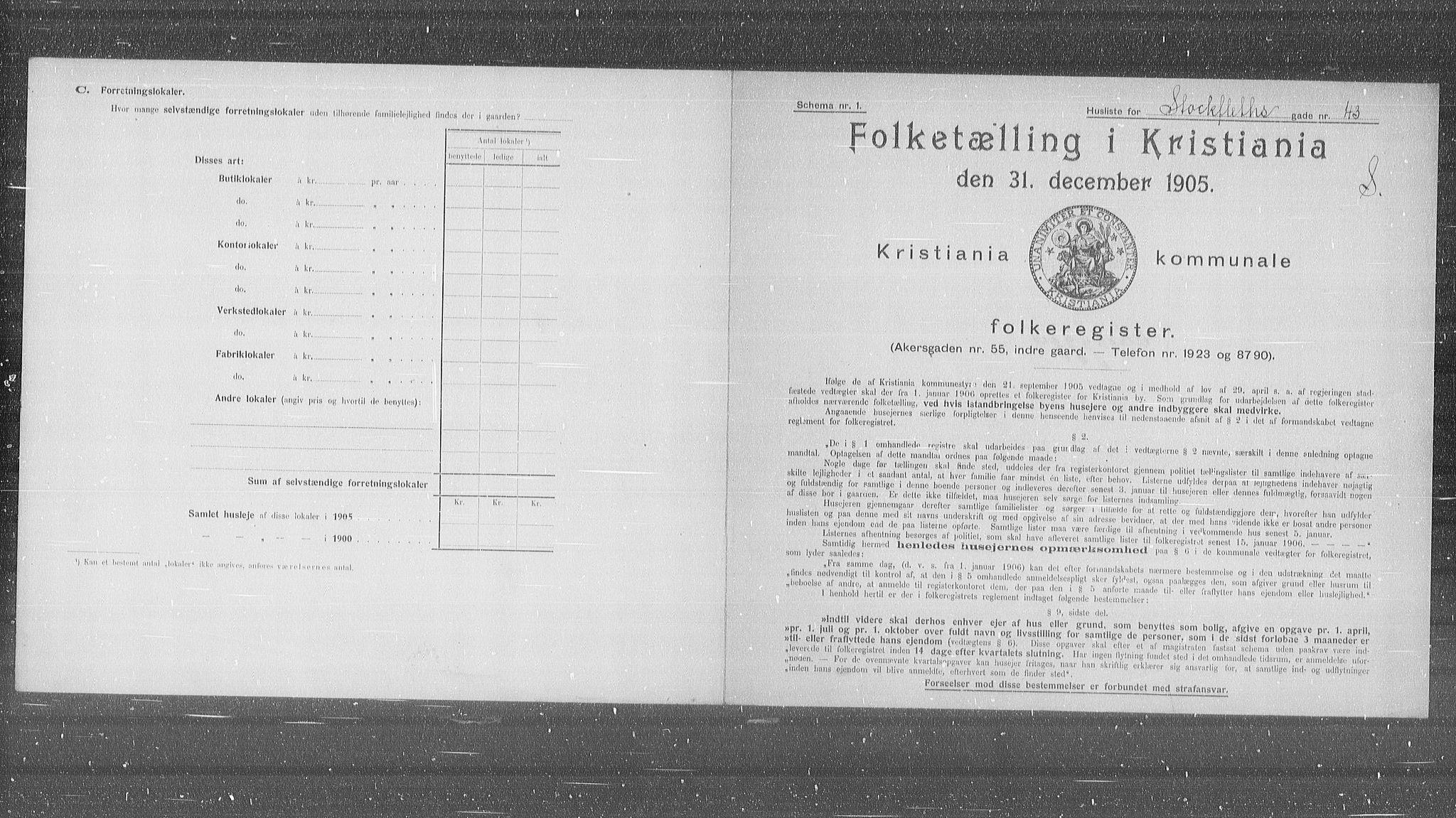 OBA, Municipal Census 1905 for Kristiania, 1905, p. 53485