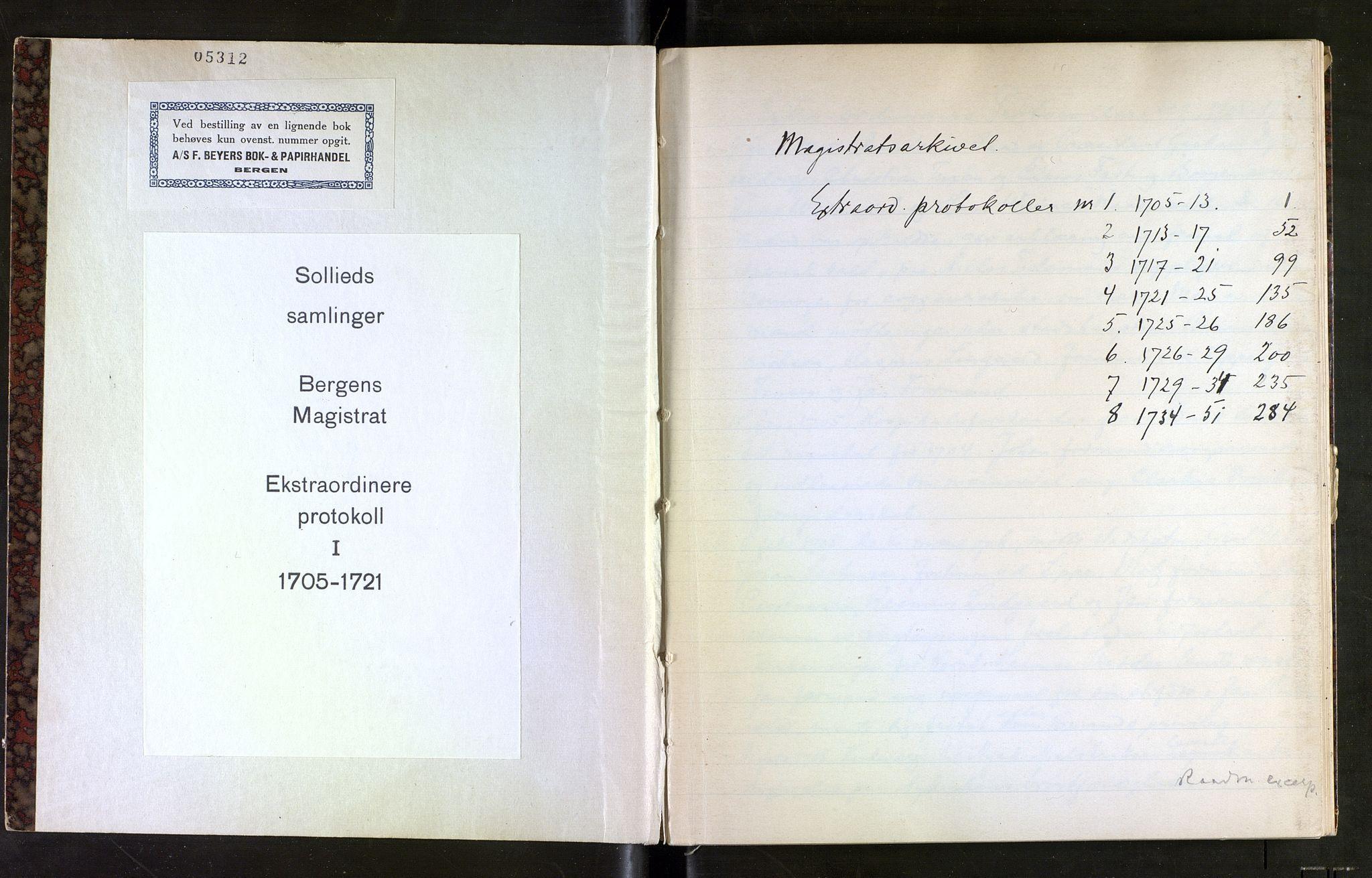 SAB, Sollied, Olaf og Thora - samlinger, 01/L0016: Utdrag av diverse, 1705-1721