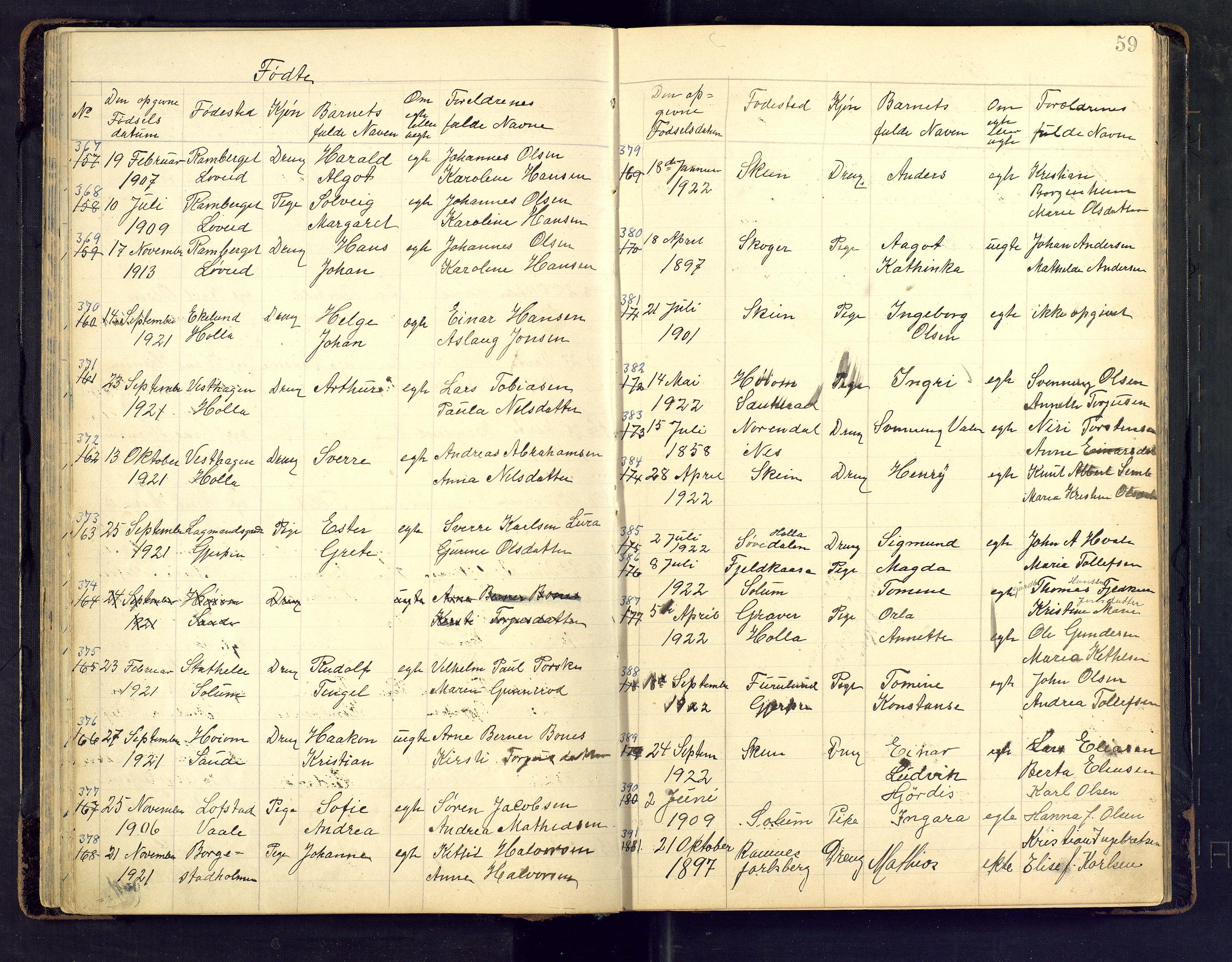 SAKO, Den evangelisk lutherske frimenighet i Jarlsbergs grevskap med flere steder, F/Fb/L0002: Dissenter register no. Fa/L0002, 1906-1922, p. 59