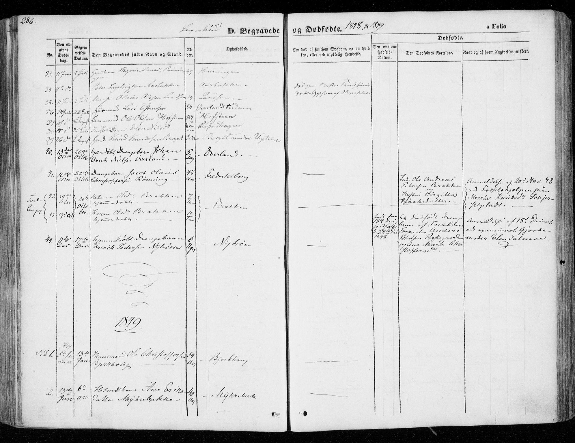 SAT, Ministerialprotokoller, klokkerbøker og fødselsregistre - Nord-Trøndelag, 701/L0007: Parish register (official) no. 701A07 /1, 1842-1854, p. 286