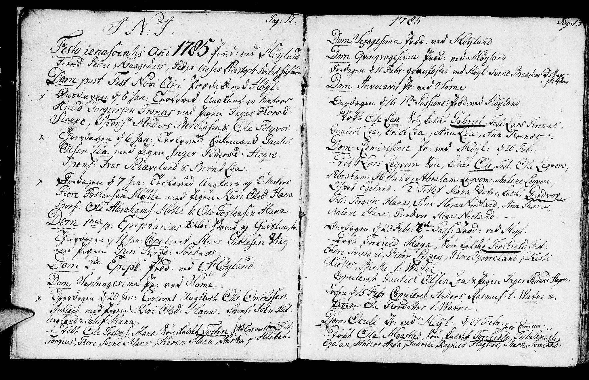 SAST, Høyland sokneprestkontor, 30BA/L0004: Parish register (official) no. A 4, 1784-1803, p. 12-13