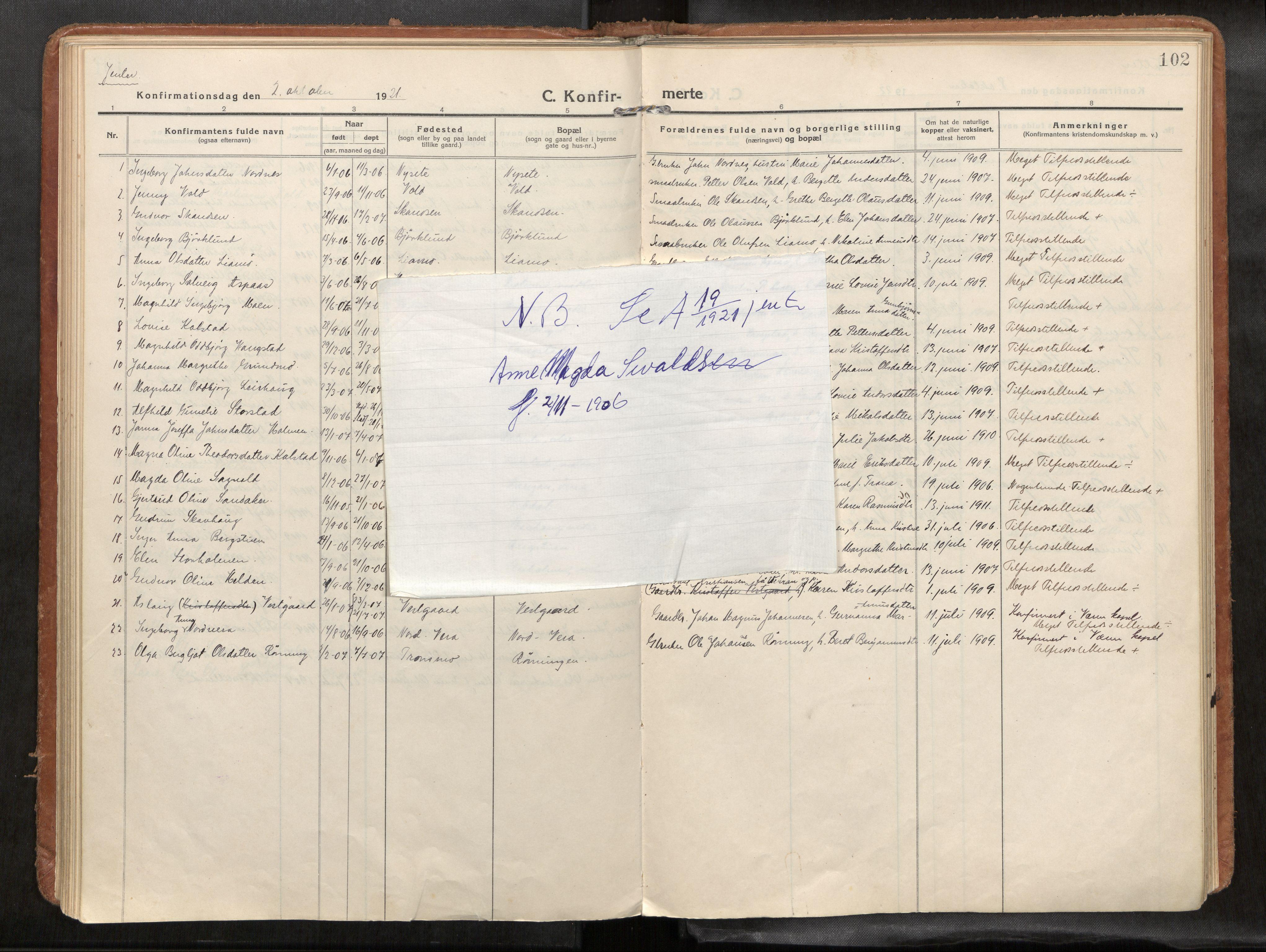 SAT, Verdal sokneprestkontor*, Parish register (official) no. 1, 1916-1928, p. 102