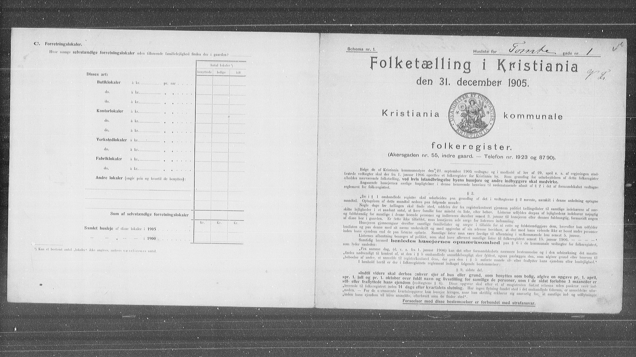 OBA, Municipal Census 1905 for Kristiania, 1905, p. 59445