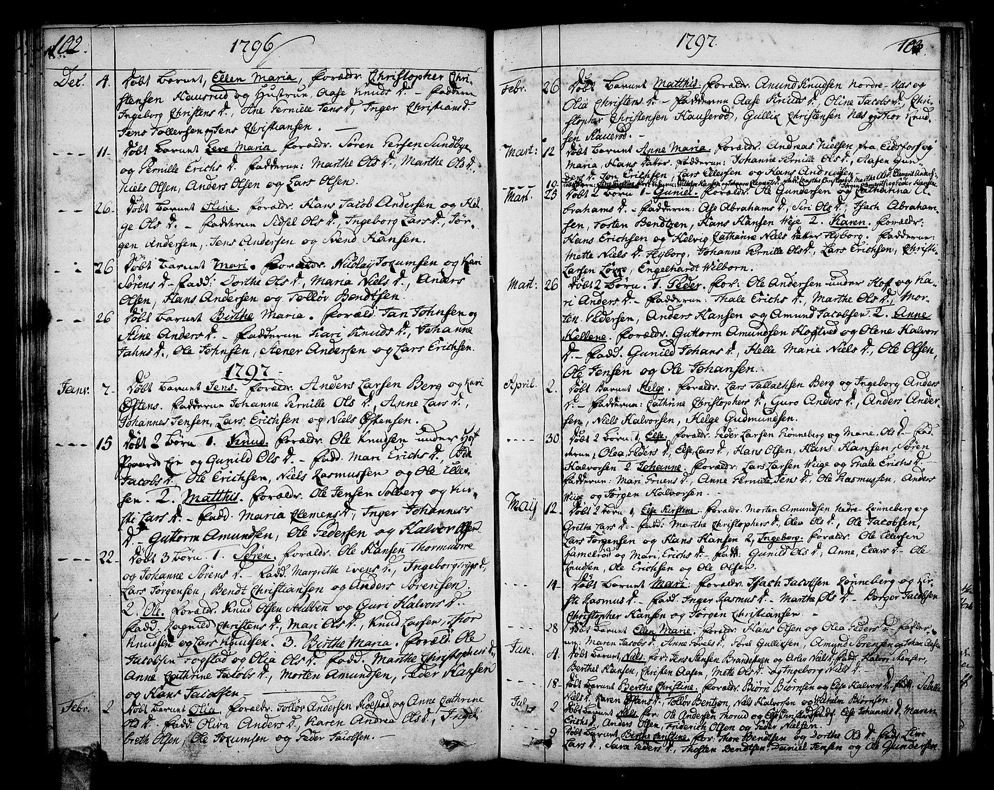 SAKO, Hof kirkebøker, F/Fa/L0003: Parish register (official) no. I 3, 1782-1814, p. 102-103