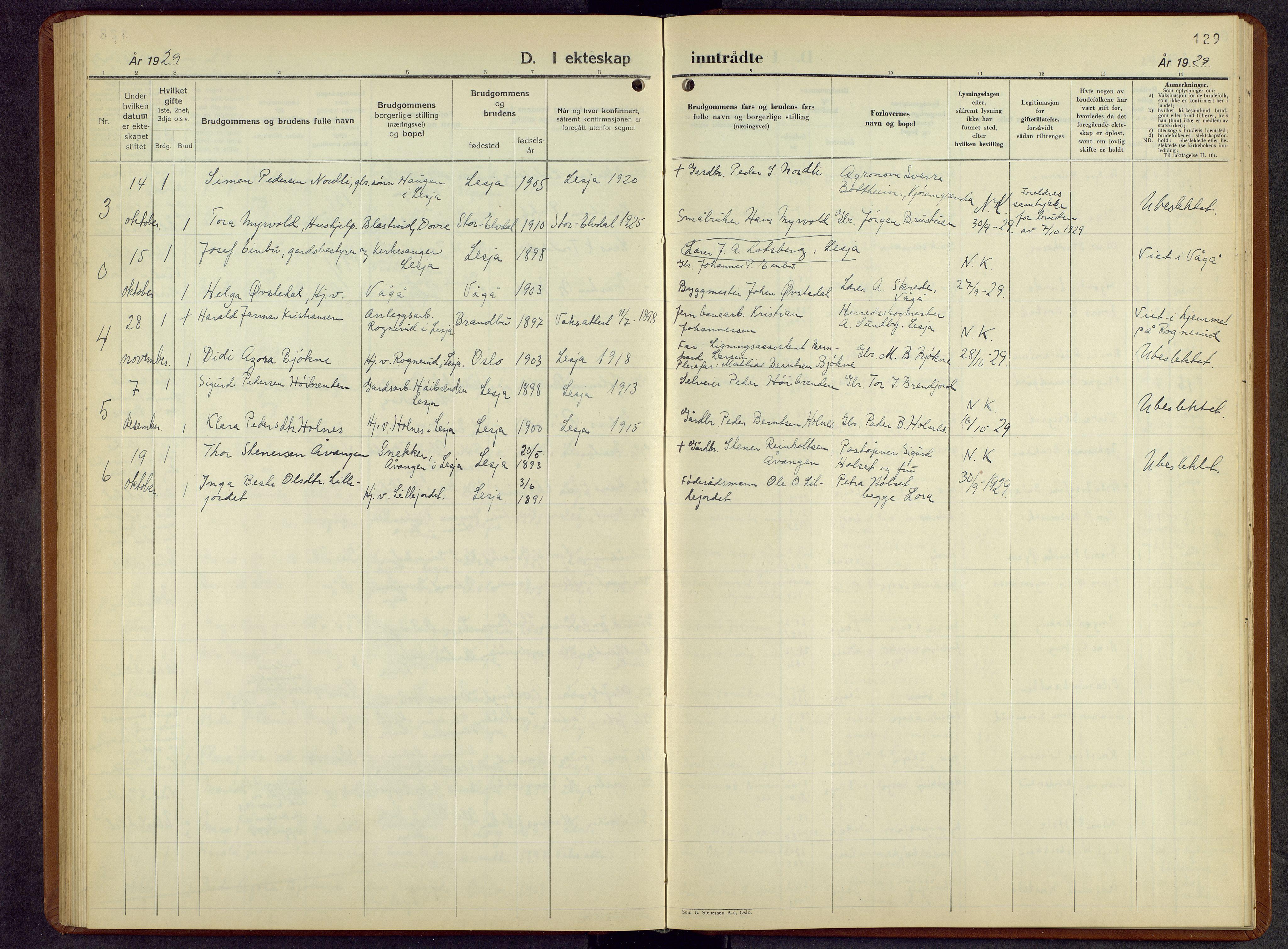 SAH, Lesja prestekontor, Parish register (copy) no. 10, 1925-1960, p. 129