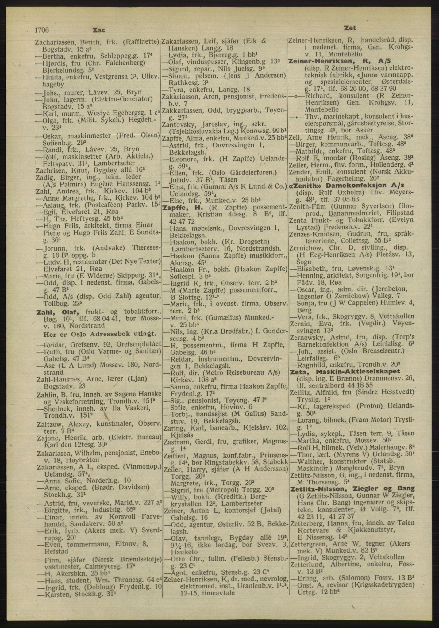 PUBL, Kristiania/Oslo adressebok, 1955, p. 1706