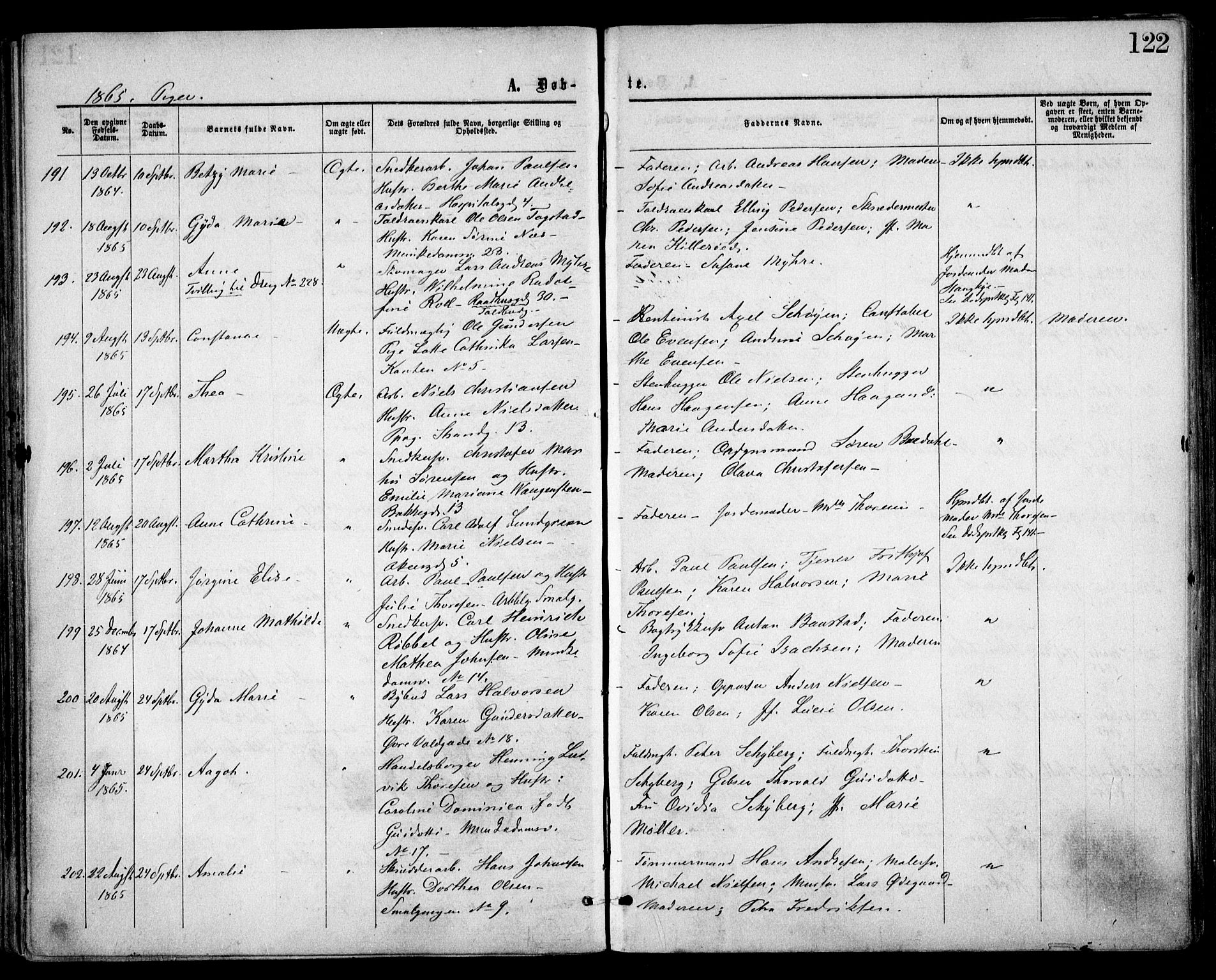 SAO, Trefoldighet prestekontor Kirkebøker, F/Fa/L0002: Parish register (official) no. I 2, 1863-1870, p. 122