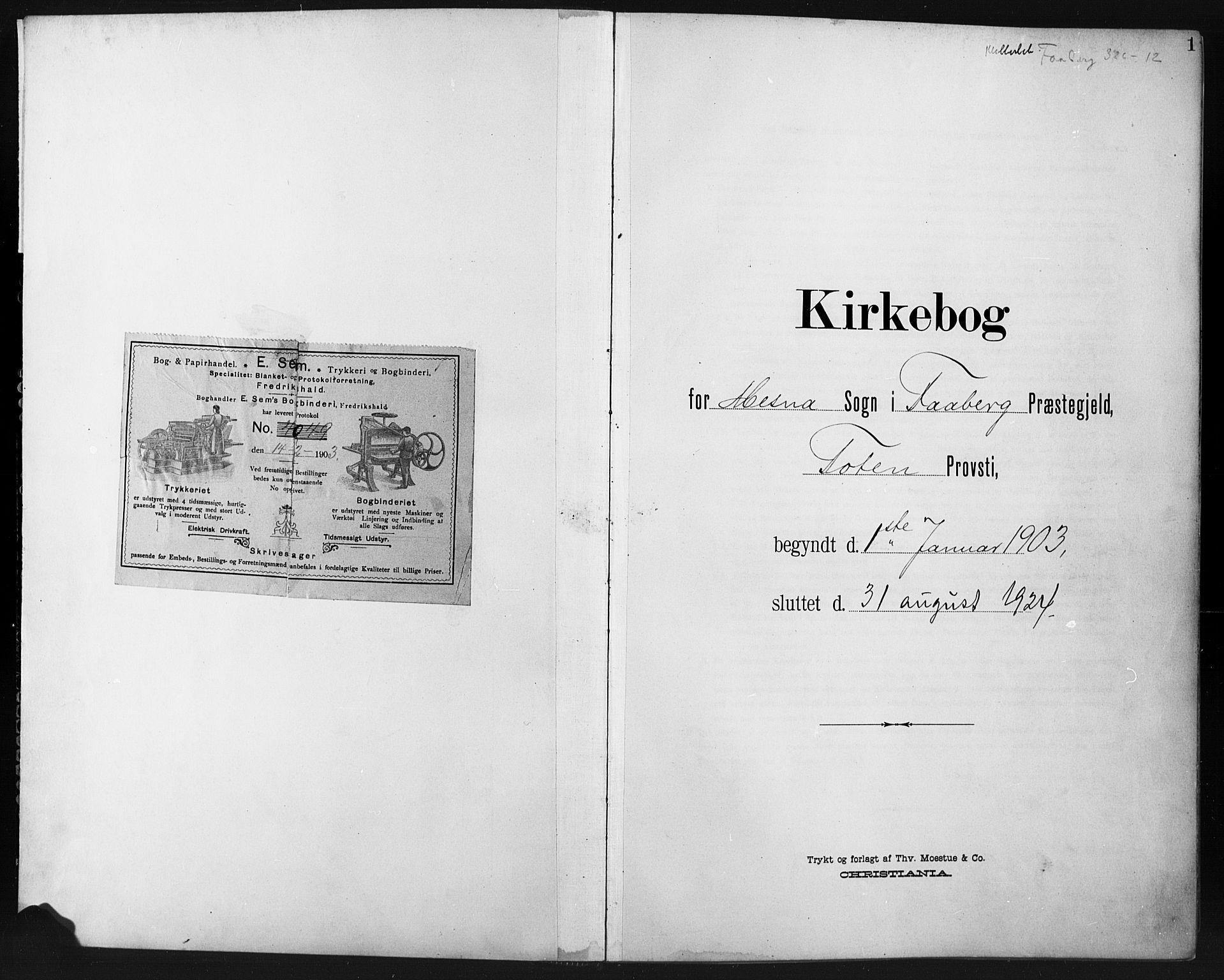 SAH, Fåberg prestekontor, H/Ha/Hab/L0012: Parish register (copy) no. 12, 1903-1924, p. 1