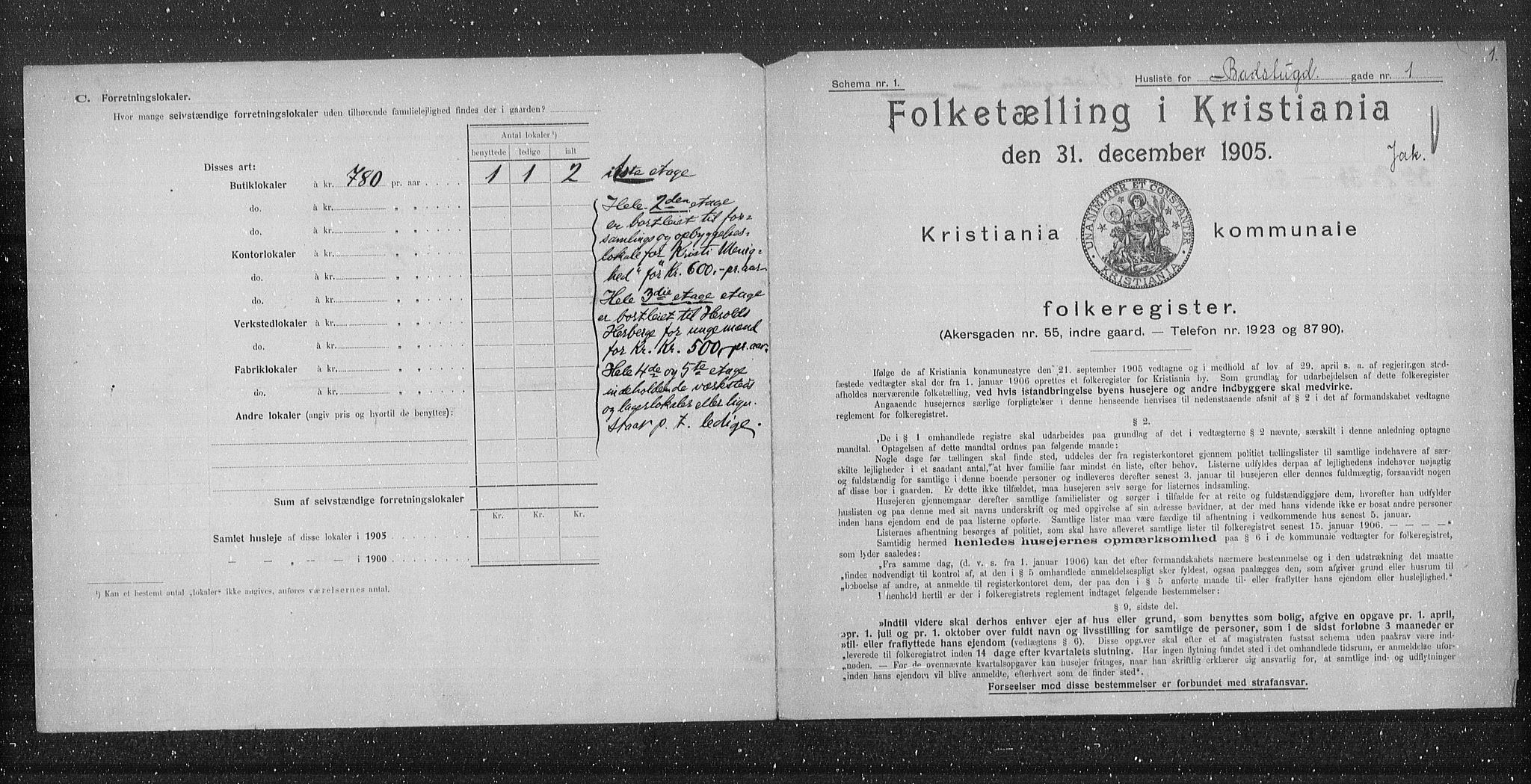 OBA, Municipal Census 1905 for Kristiania, 1905, p. 1349