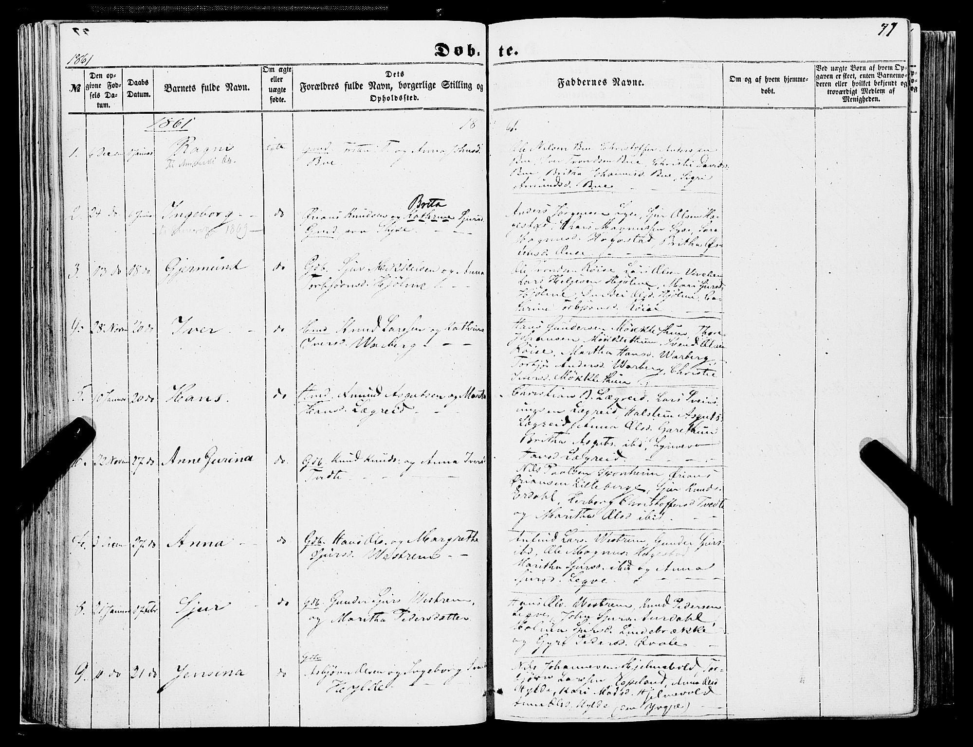 SAB, Ulvik sokneprestembete, H/Haa: Parish register (official) no. A 13, 1853-1863, p. 77