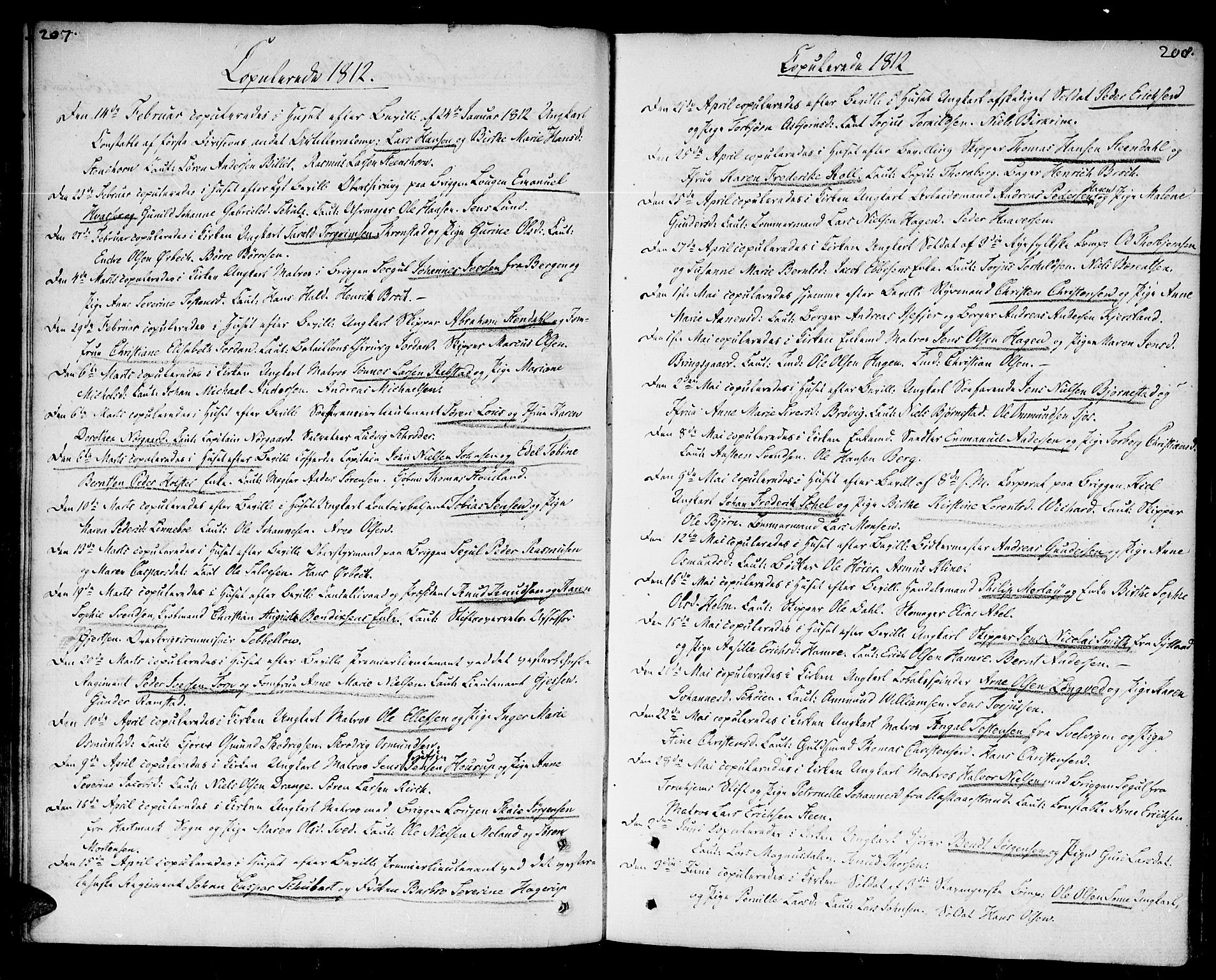 SAK, Kristiansand domprosti, F/Fa/L0005: Parish register (official) no. A 5, 1776-1818, p. 207-208