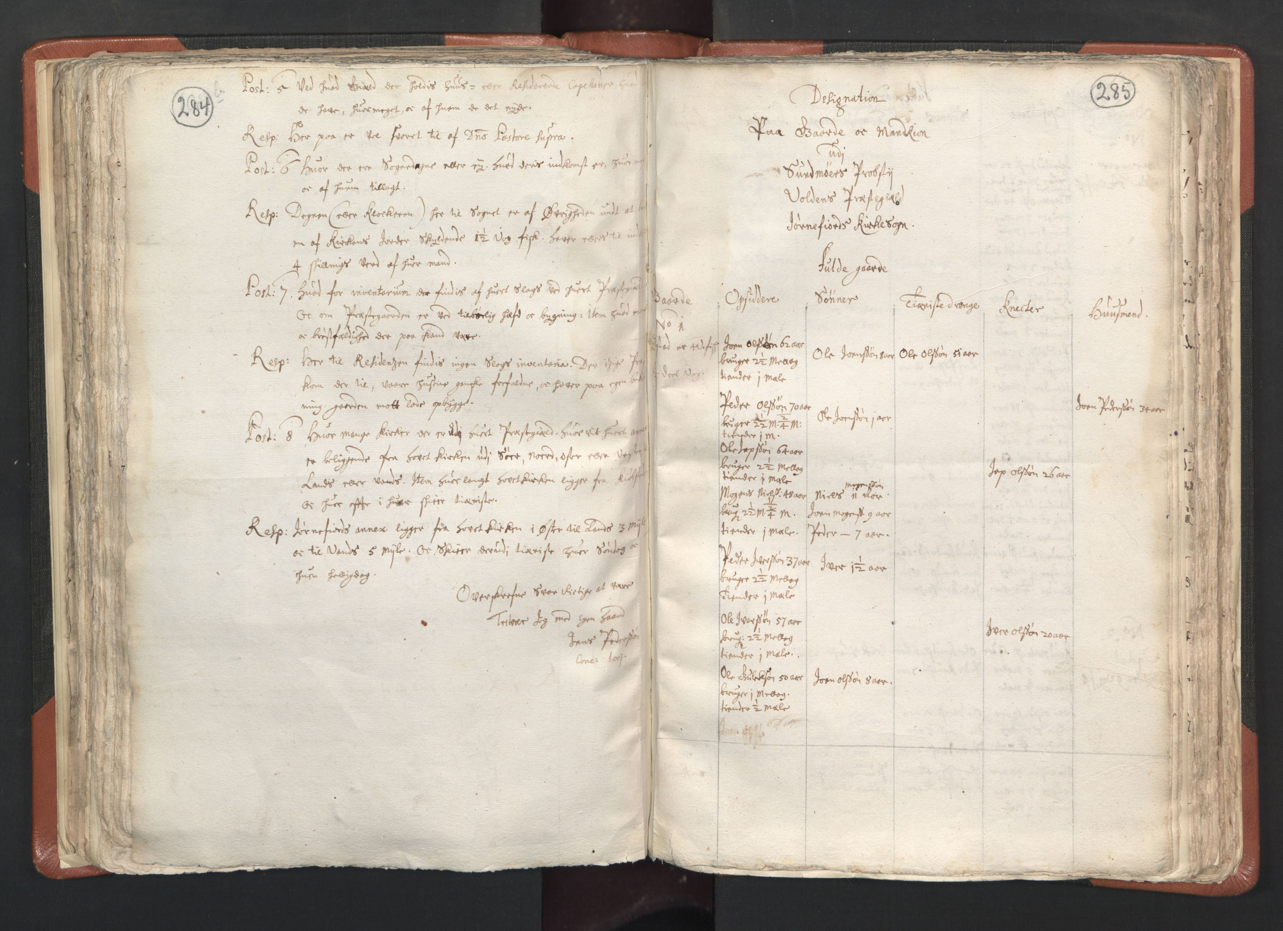 RA, Vicar's Census 1664-1666, no. 26: Sunnmøre deanery, 1664-1666, p. 284-285