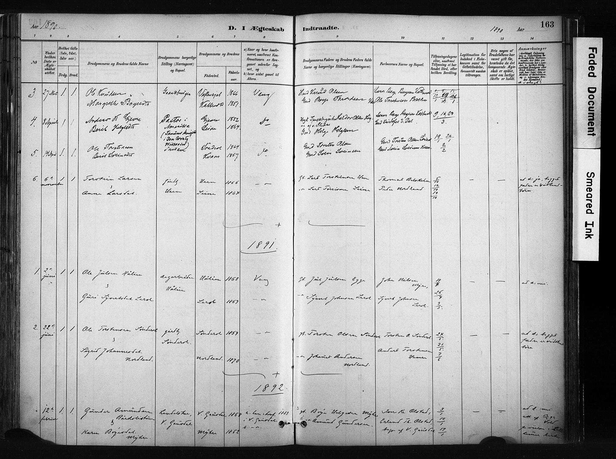 SAH, Vang prestekontor, Valdres, Parish register (official) no. 8, 1882-1910, p. 163