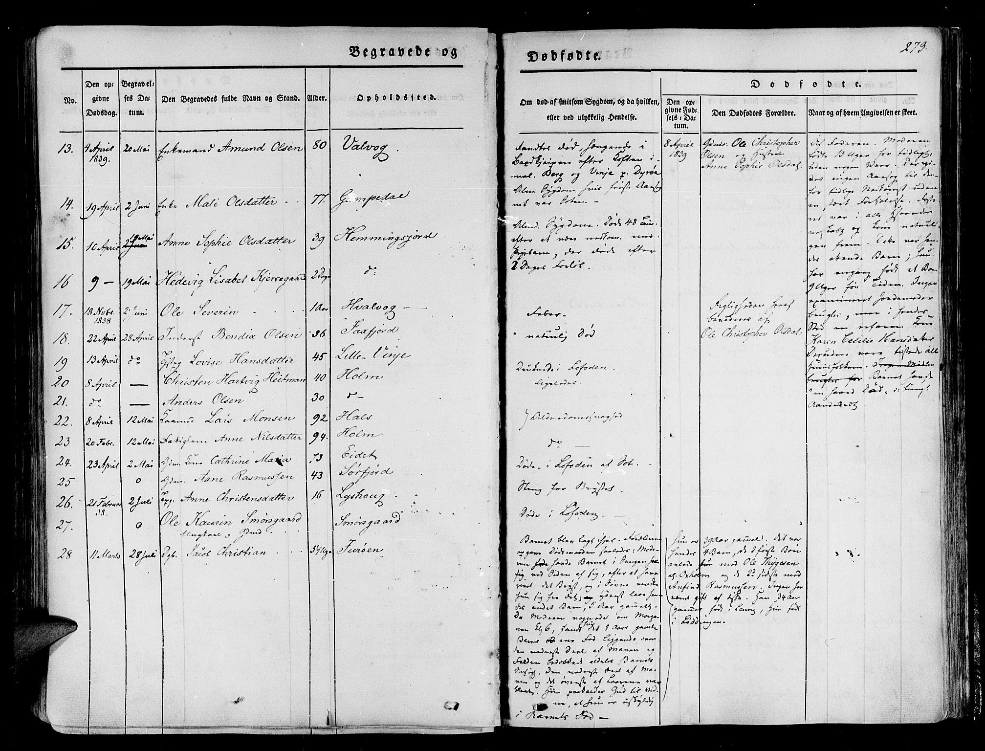 SATØ, Tranøy sokneprestkontor, I/Ia/Iaa/L0005kirke: Parish register (official) no. 5, 1829-1844, p. 273