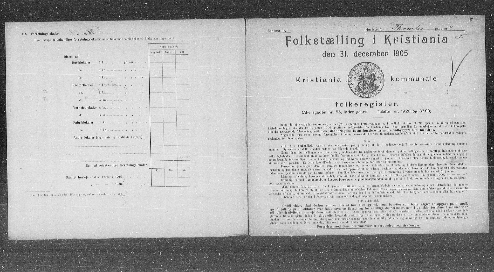 OBA, Municipal Census 1905 for Kristiania, 1905, p. 57183