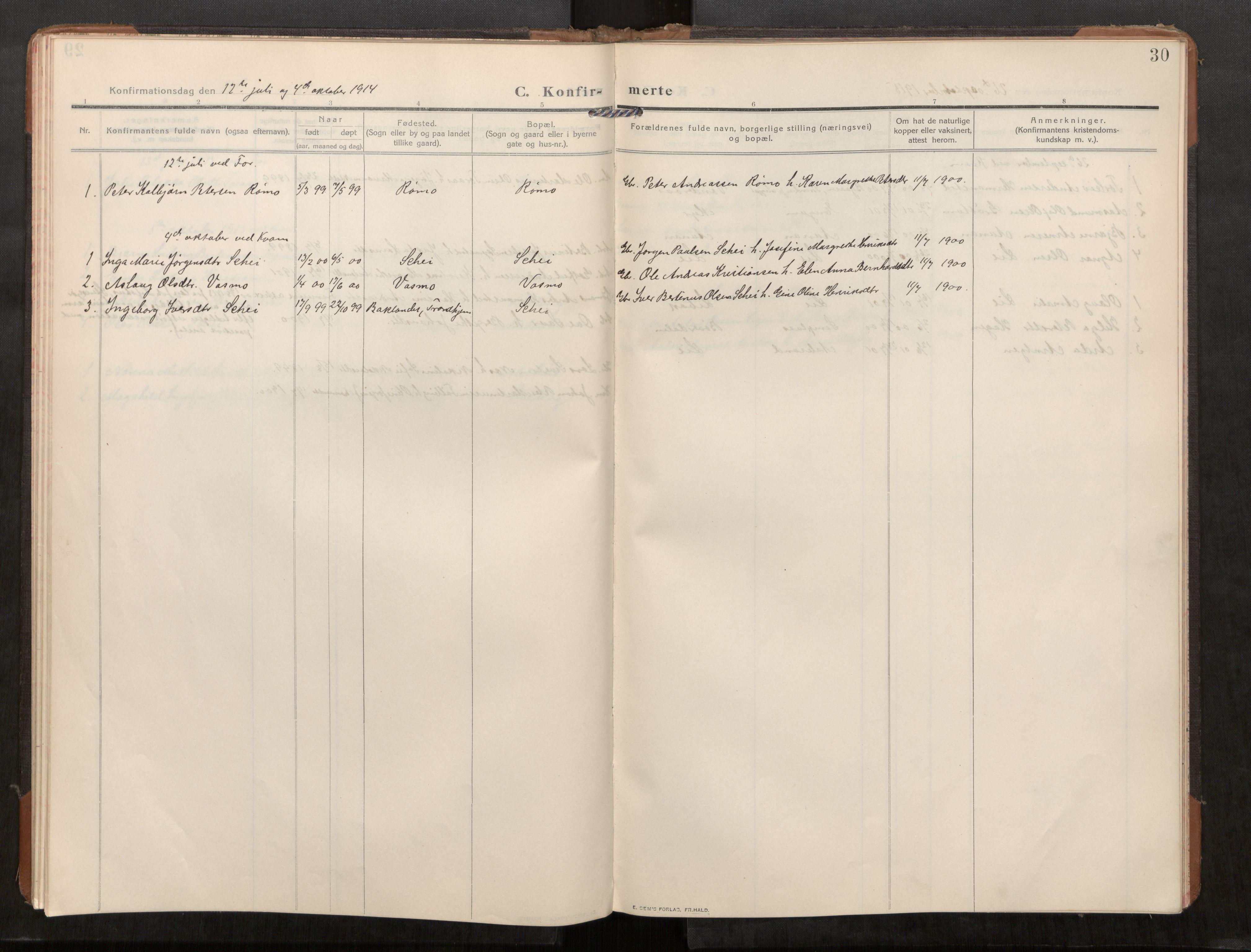 SAT, Stod sokneprestkontor, I/I1/I1a/L0003: Parish register (official) no. 3, 1909-1934, p. 30