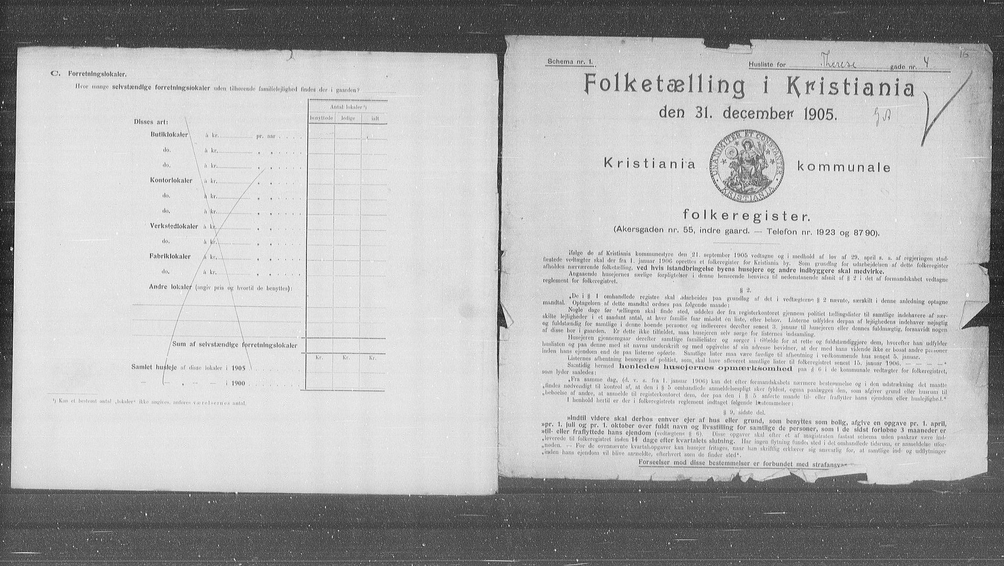 OBA, Municipal Census 1905 for Kristiania, 1905, p. 56406
