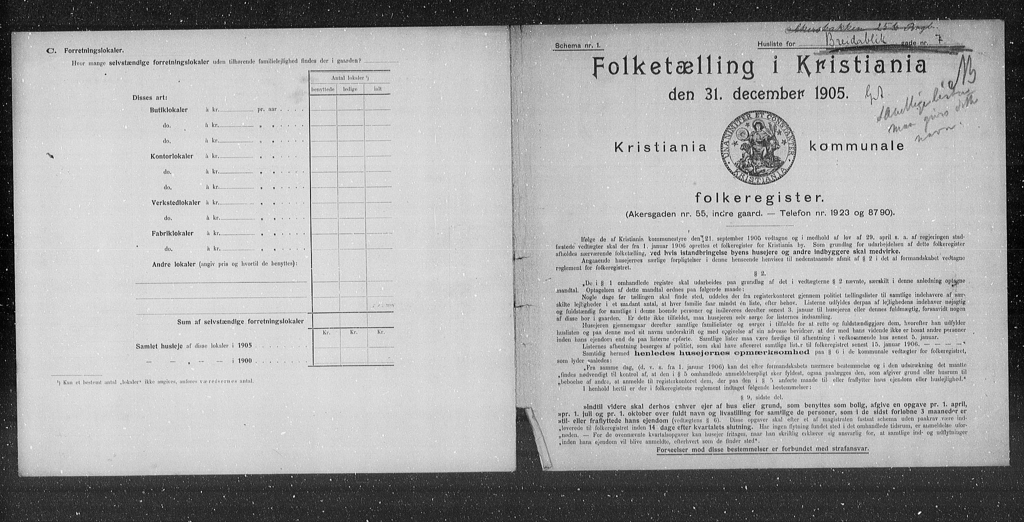 OBA, Municipal Census 1905 for Kristiania, 1905, p. 4346