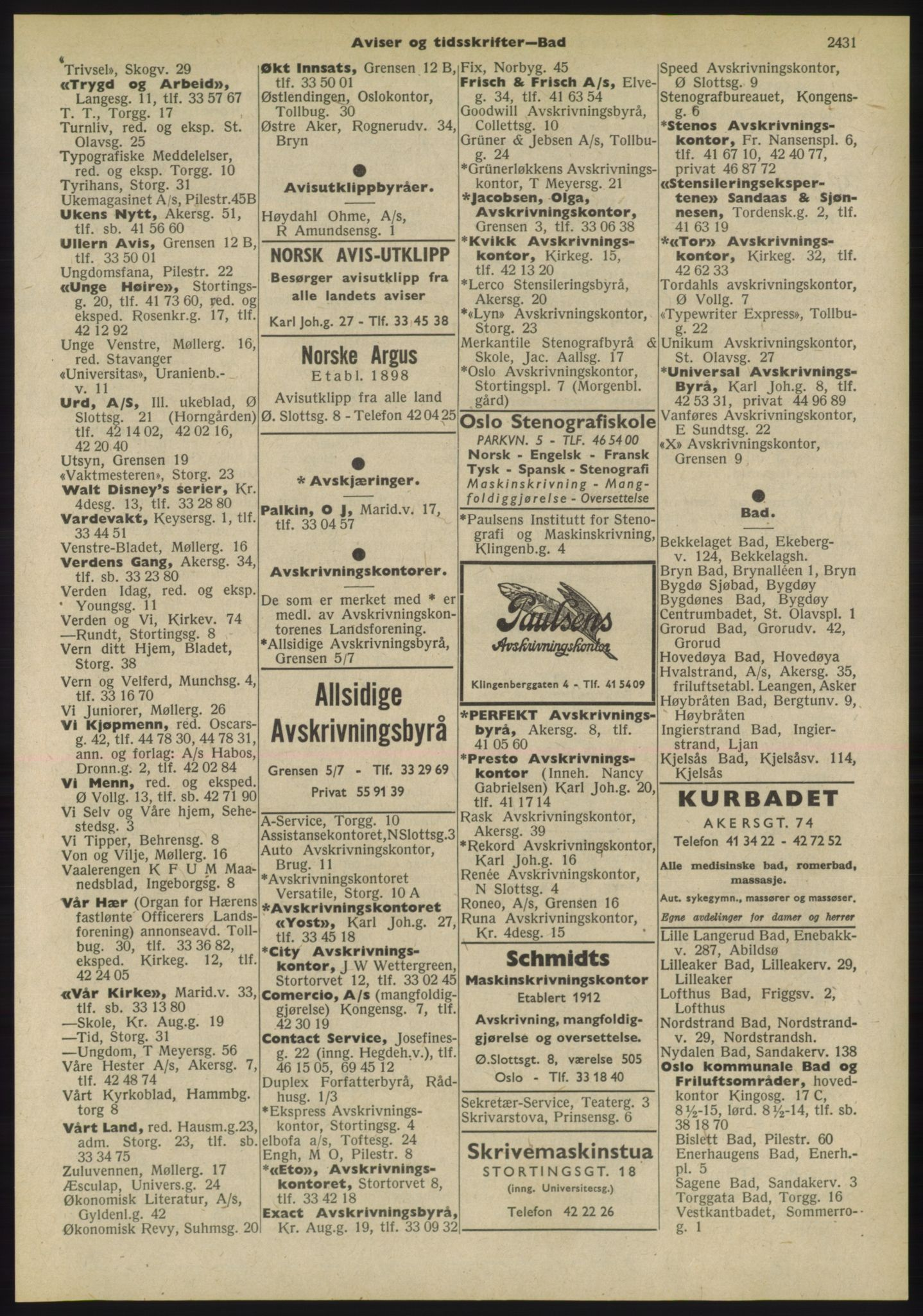 PUBL, Kristiania/Oslo adressebok, 1955, p. 2431