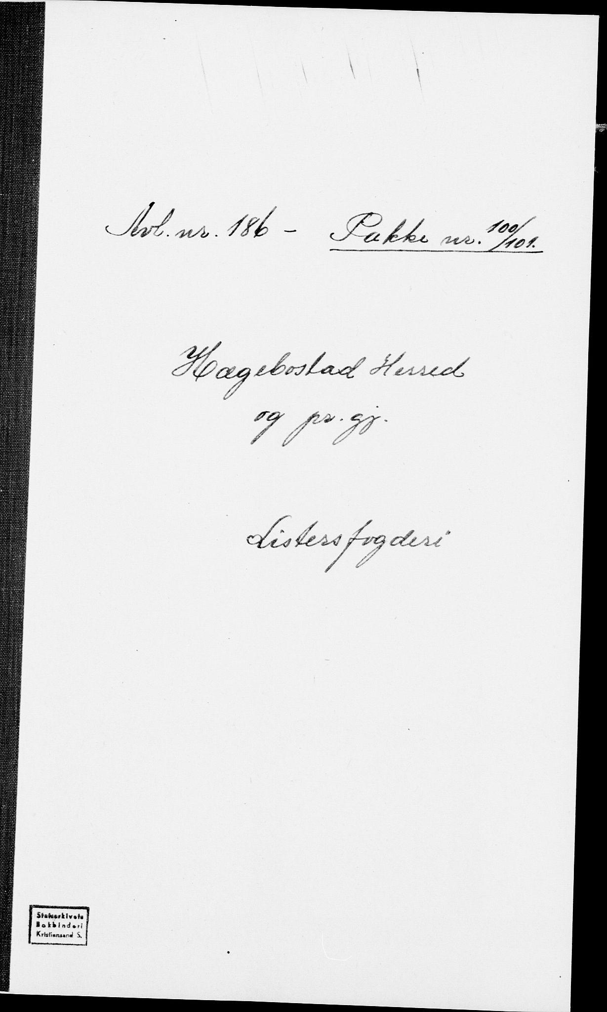 SAK, 1875 census for 1034P Hægebostad, 1875, p. 1